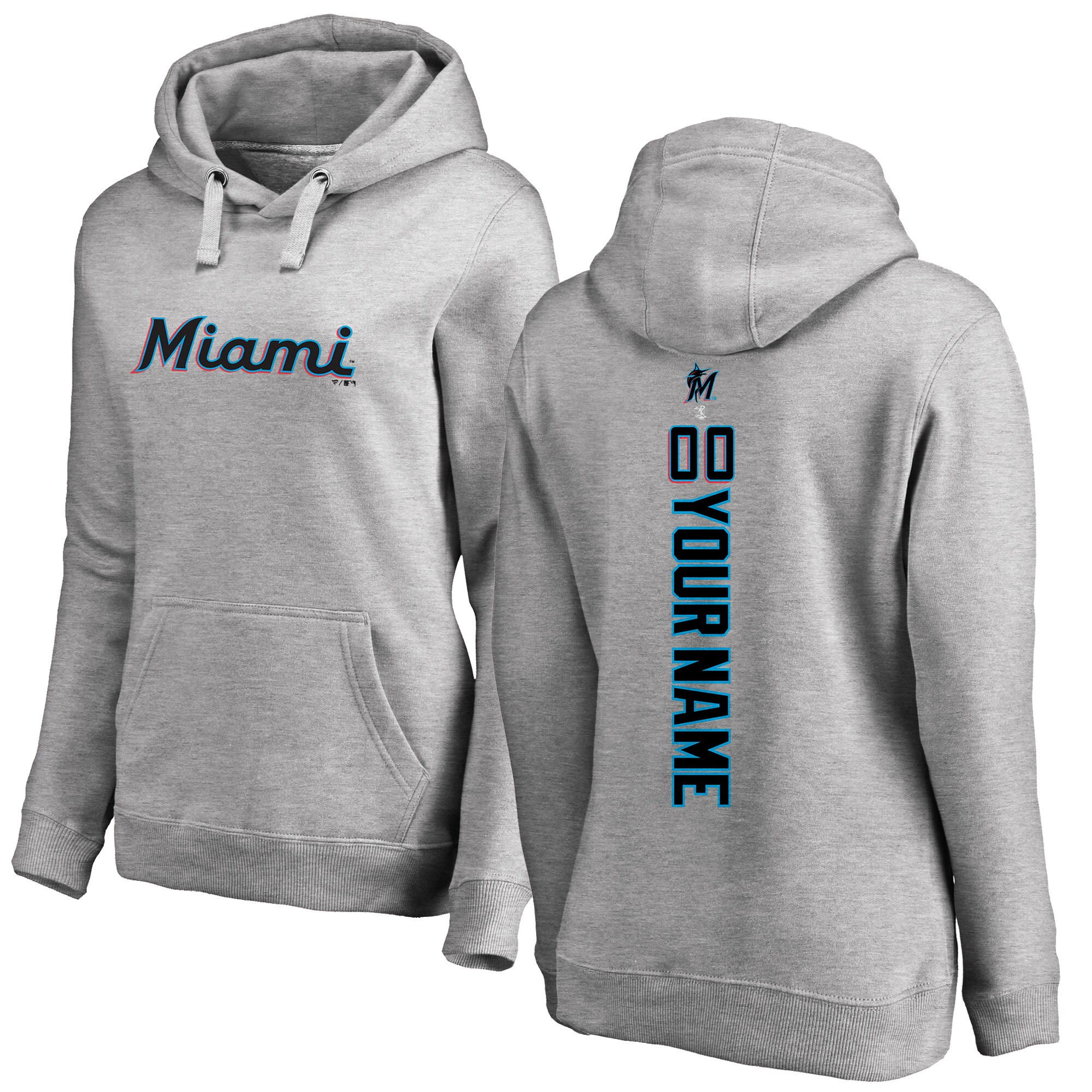 Miami Marlins Fanatics Branded Women's Personalized Playmaker Pullover Hoodie - Heather Gray