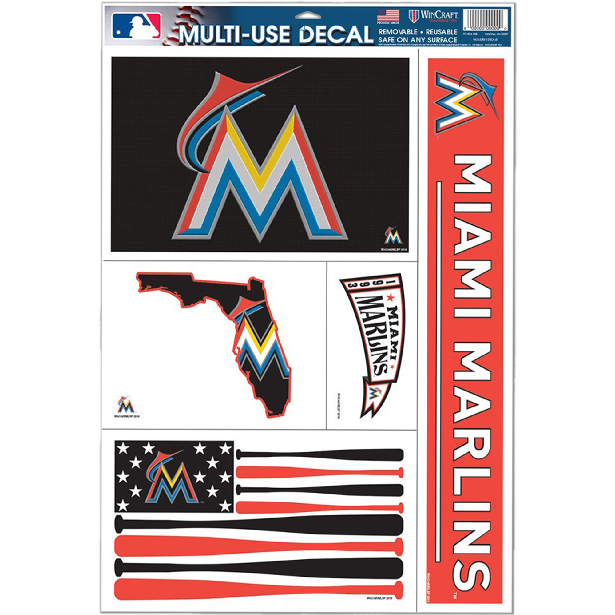 "Miami Marlins WinCraft 11"" x 17"" Stars and Stripes Multi-Use Decal Sheet"