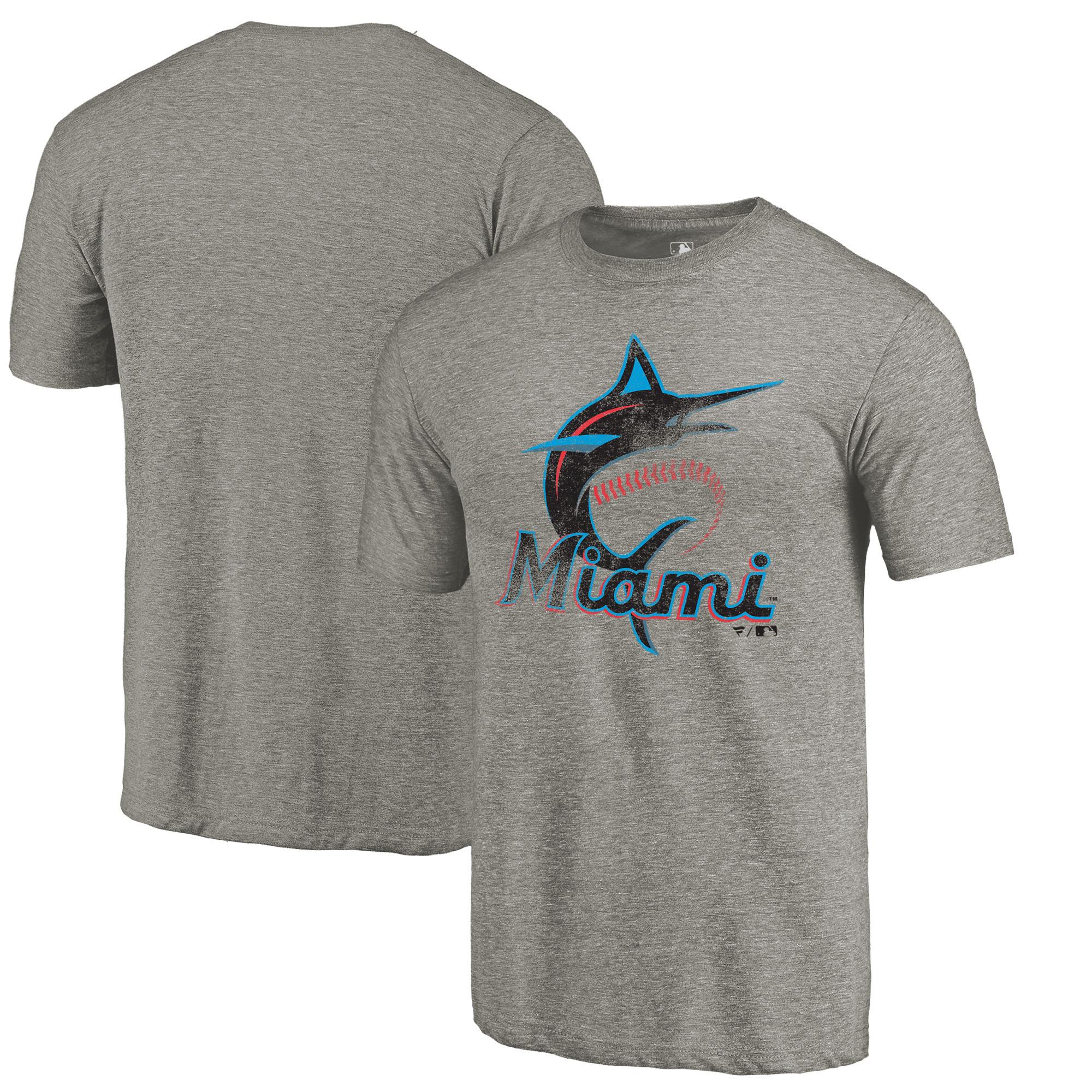 Miami Marlins Distressed Team Tri-Blend T-Shirt - Ash