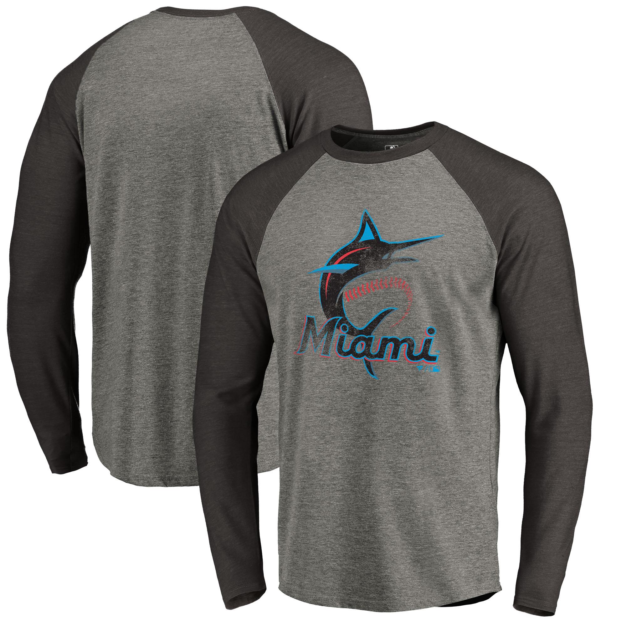 Miami Marlins Distressed Team Raglan Tri-Blend Long Sleeve T-Shirt - Ash
