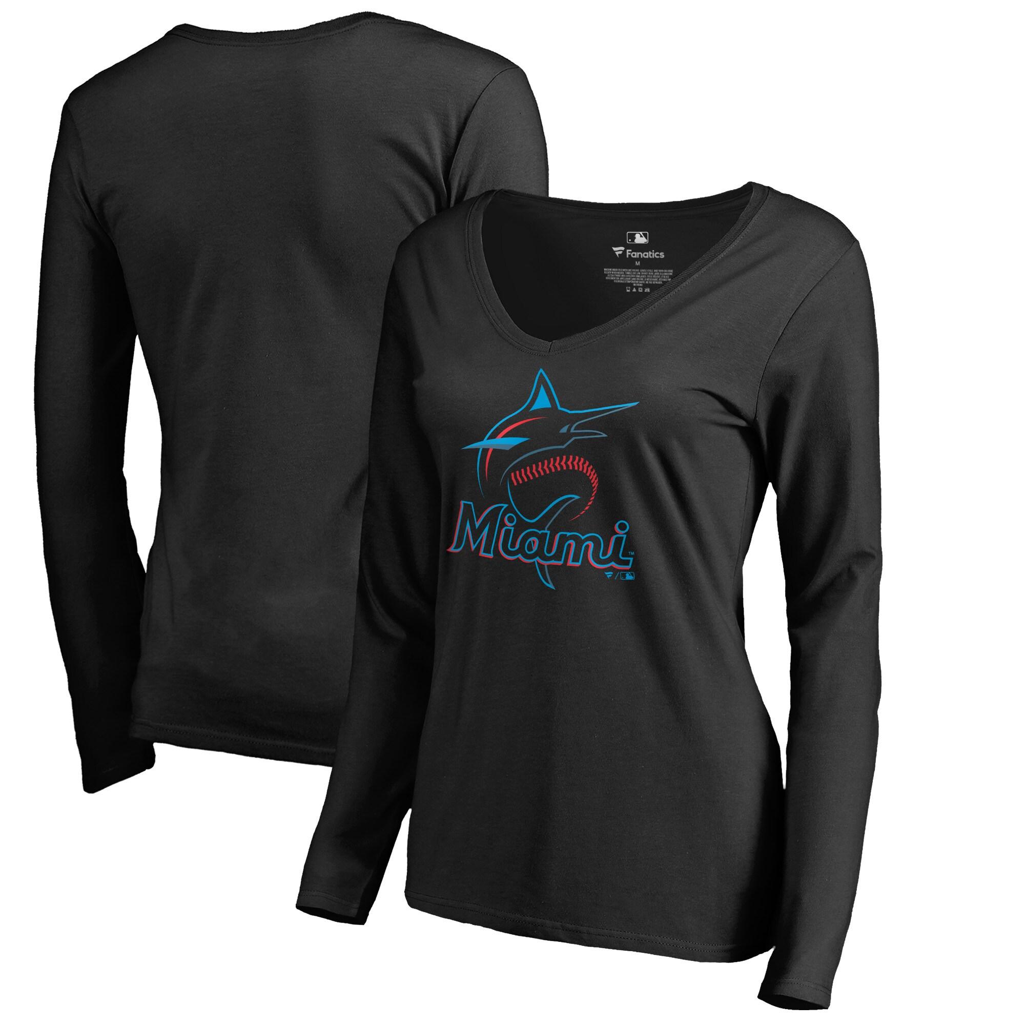 Miami Marlins Women's Team Color Primary Logo V-Neck Long Sleeve T-Shirt - Black
