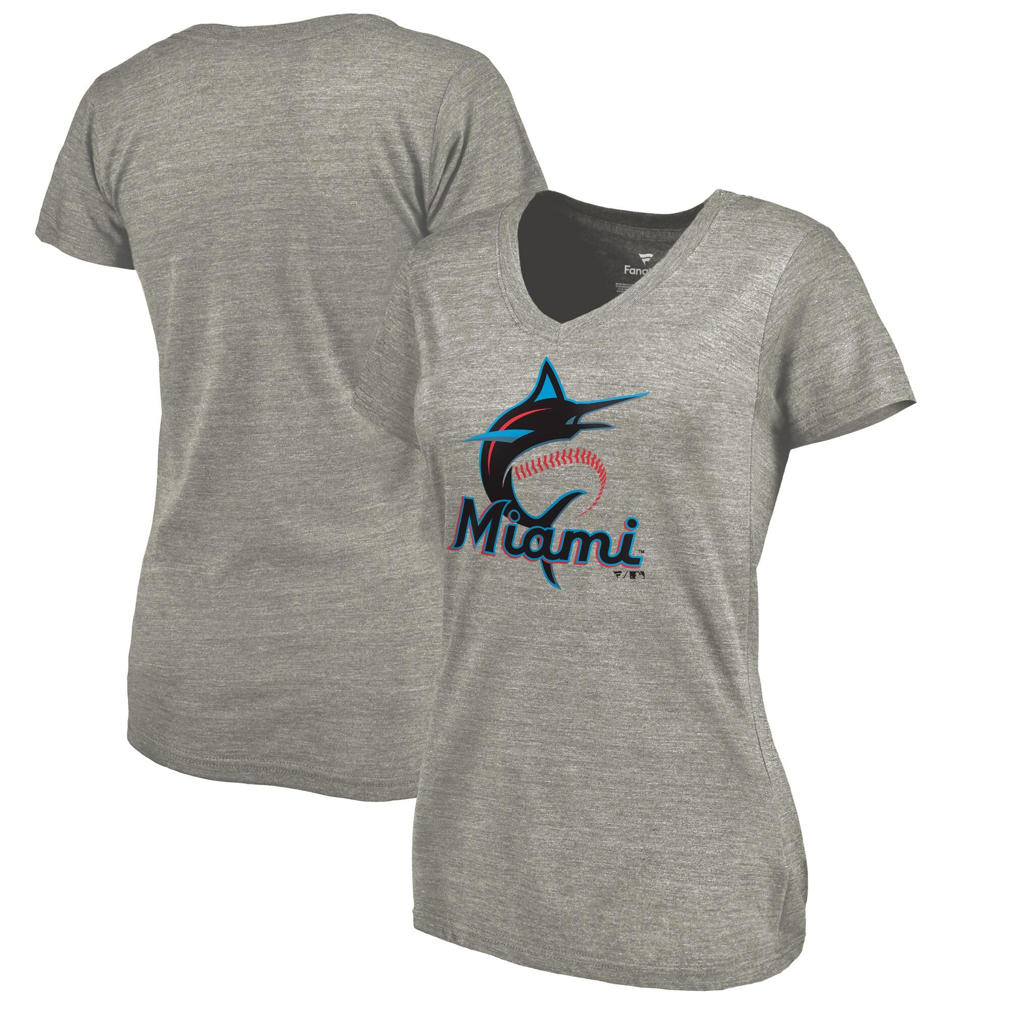 Miami Marlins Women's Primary Logo Tri-Blend V-Neck T-Shirt - Ash