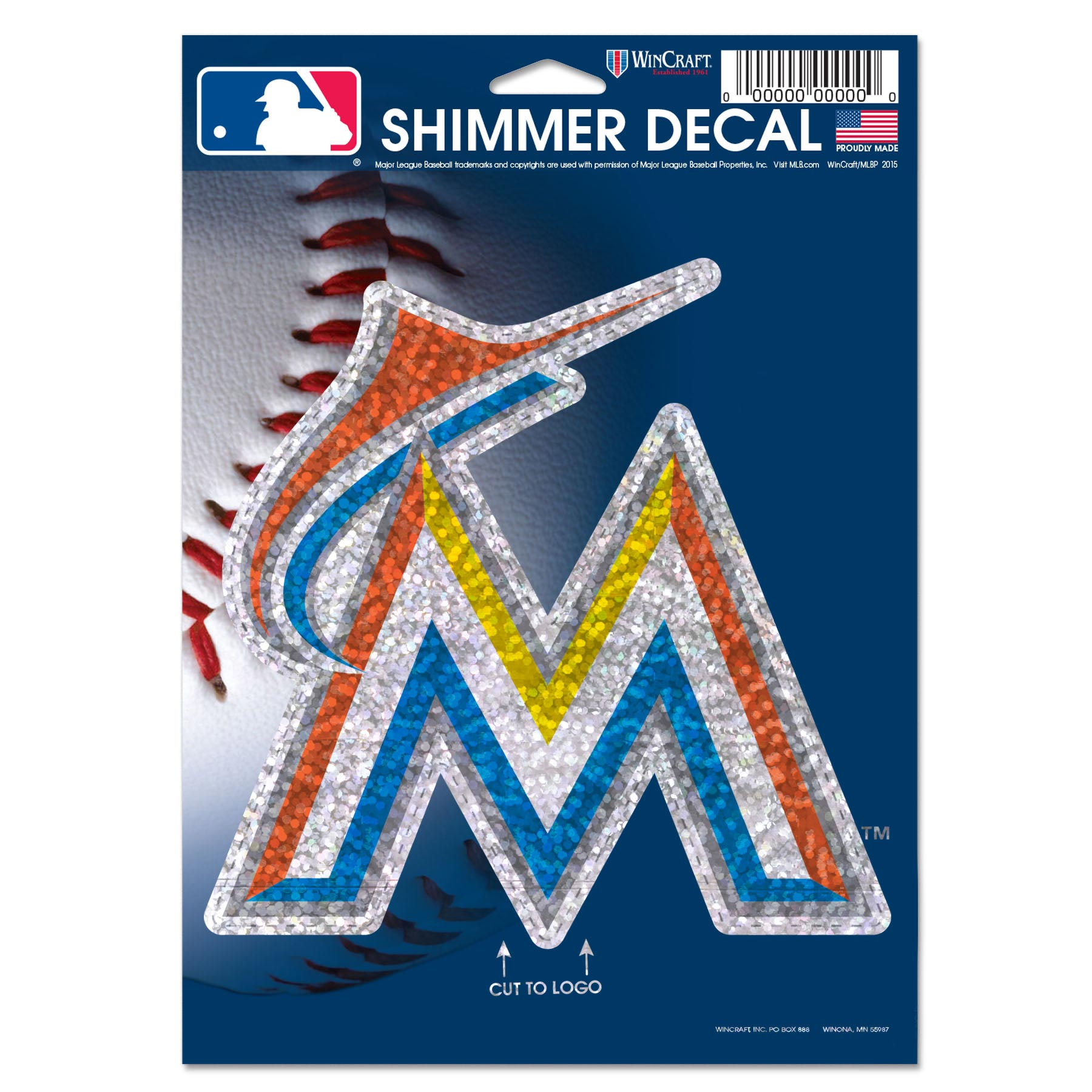"Miami Marlins WinCraft 5"" x 7"" Shimmer Decal"
