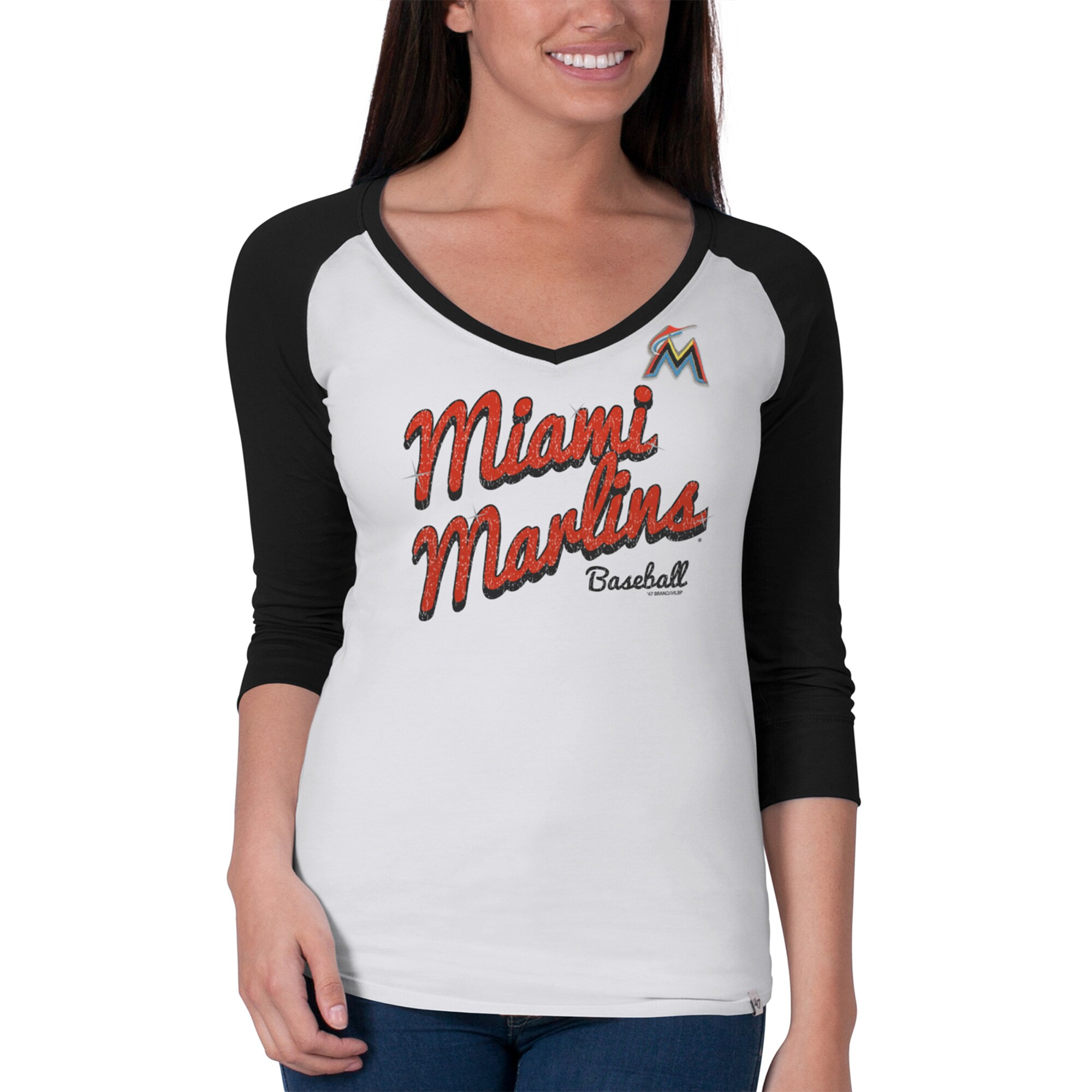 Miami Marlins Women's Batter Up 3/4-Raglan Sleeve T-Shirt - White/Black