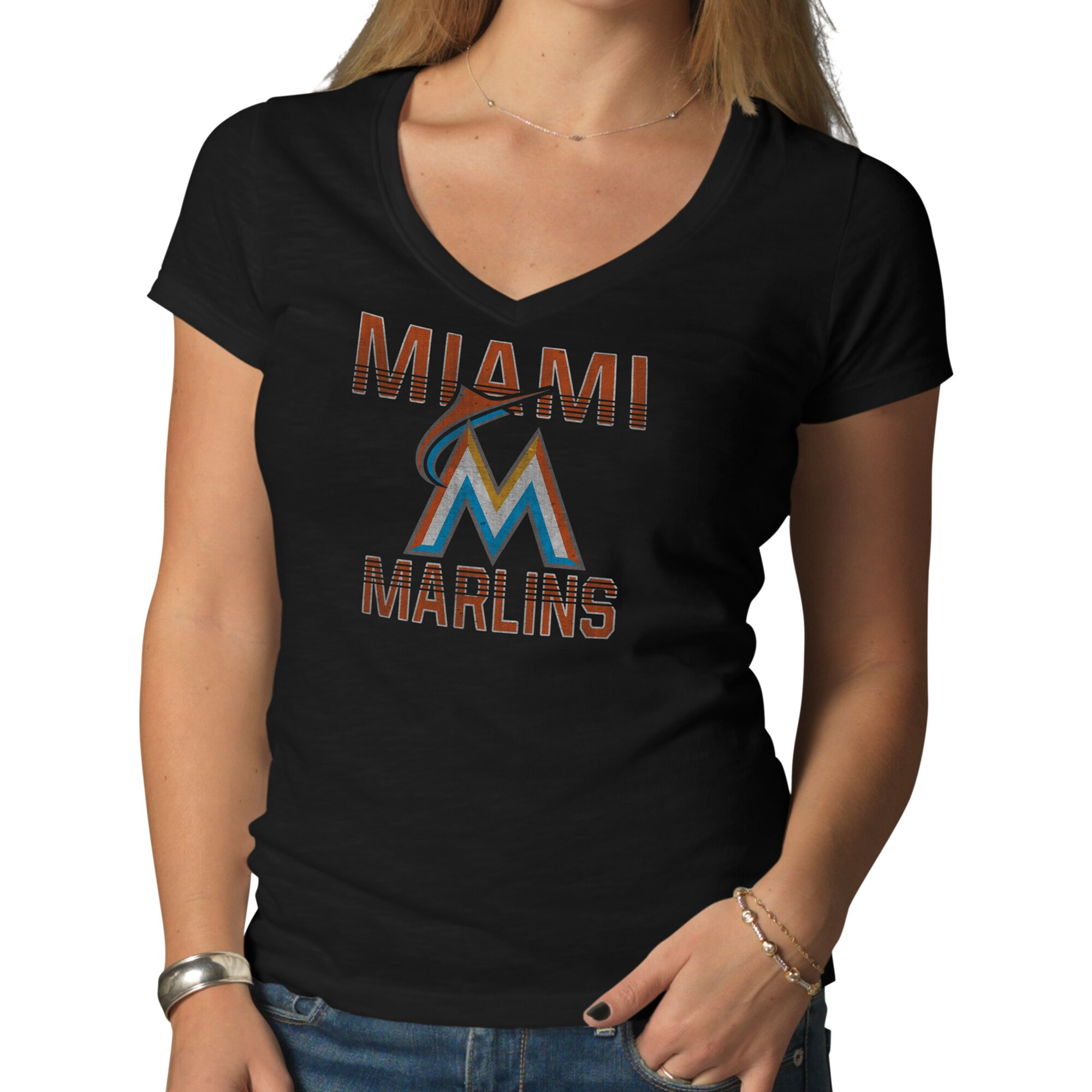 Miami Marlins '47 Women's Logo V-Neck Scrum T-Shirt - Black