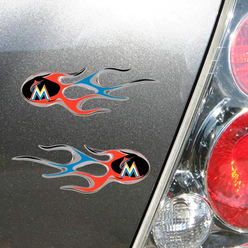 Miami Marlins 2-Pack Flame Domed Decals
