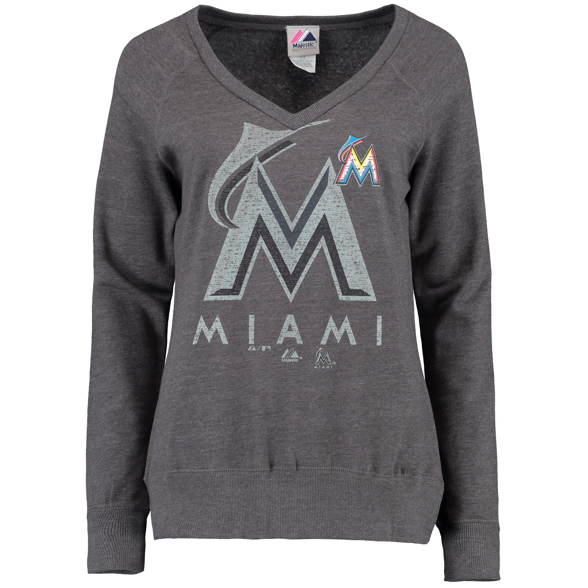 Miami Marlins Majestic Women's Take Control Fleece Pullover Sweatshirt - Charcoal