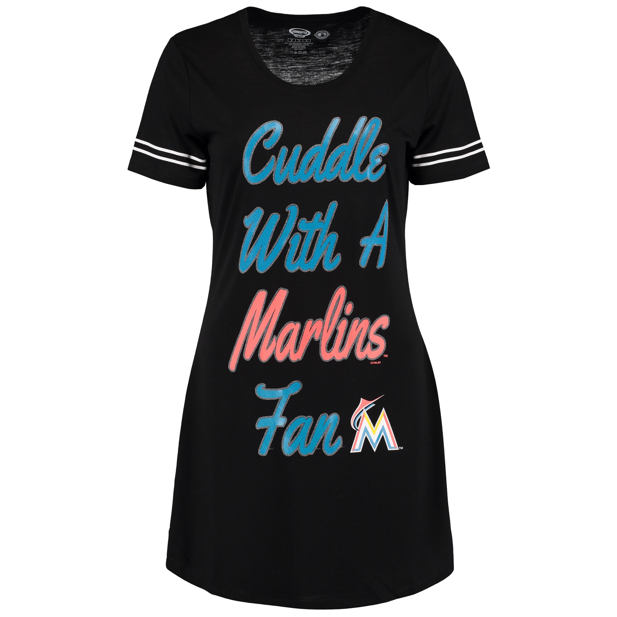 Miami Marlins Concepts Sport Women's Tradition Nightshirt - Black