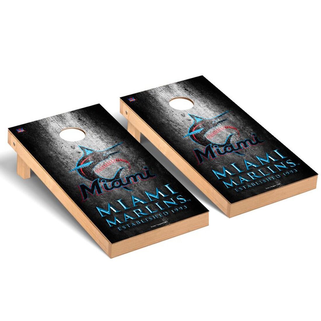 Miami Marlins 2' x 4' Metal Cornhole Board Tailgate Toss Set