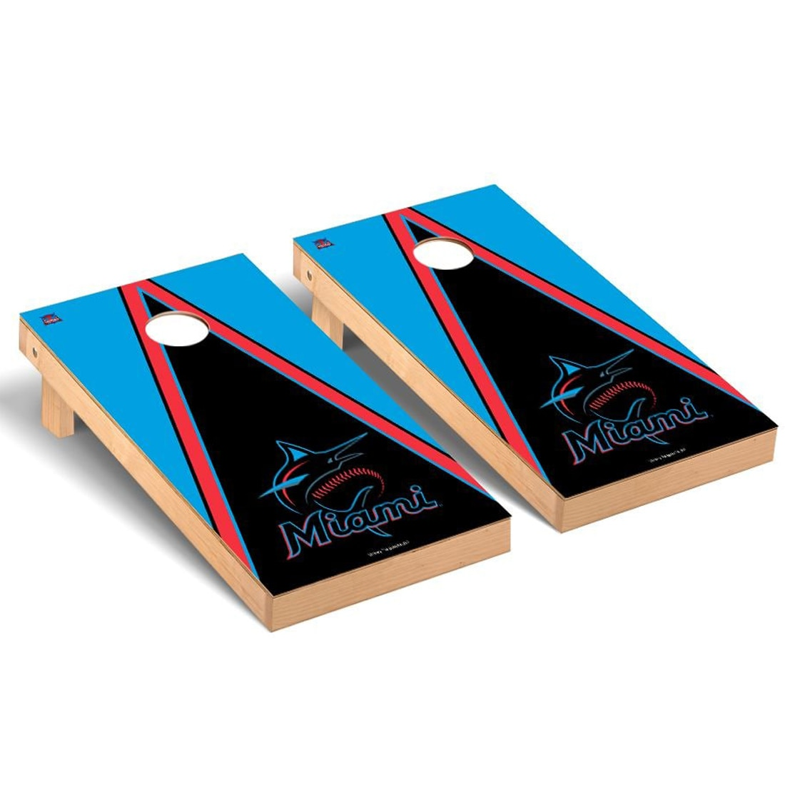 Miami Marlins 2' x 4' Triangle Cornhole Board Tailgate Toss Set