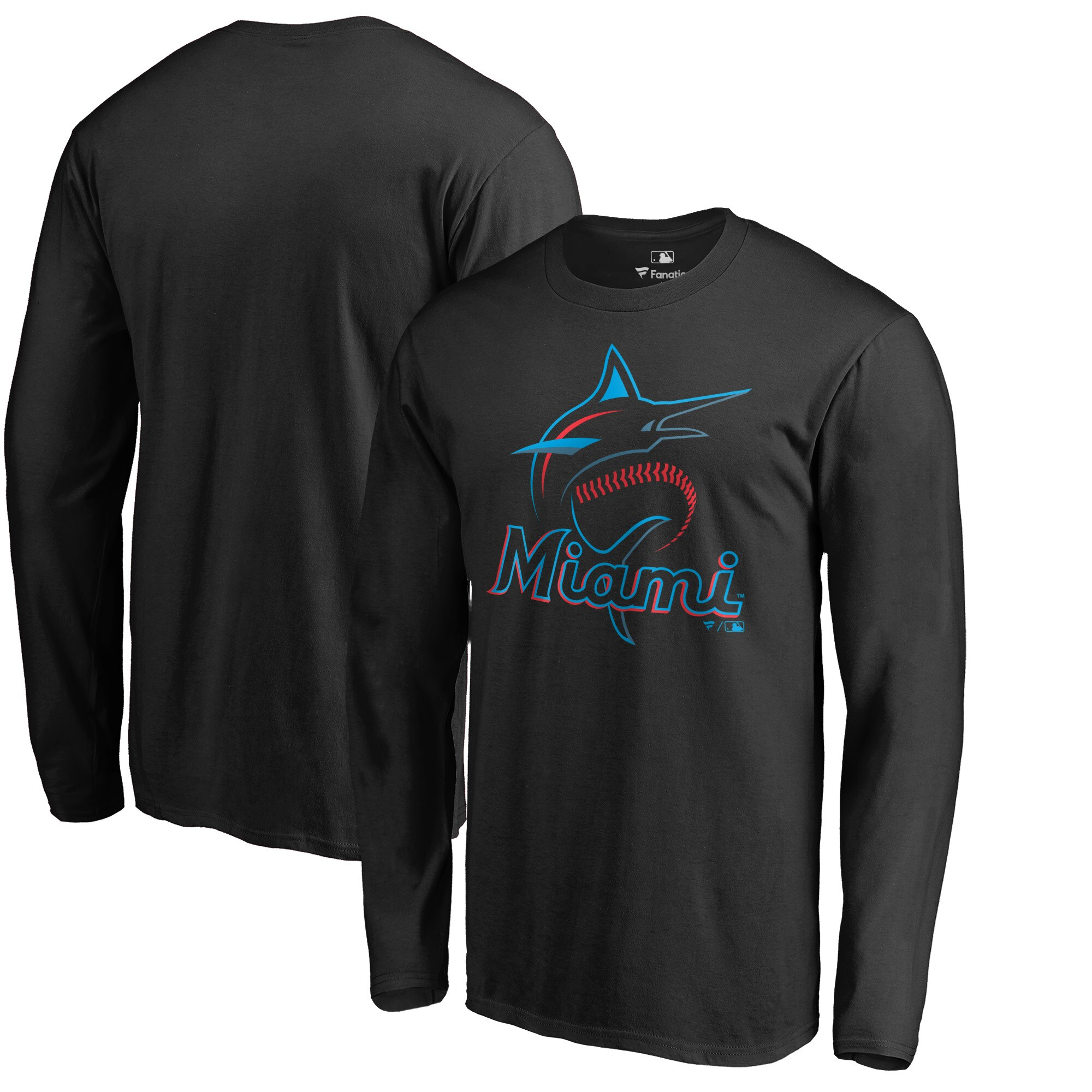 Miami Marlins Big & Tall Primary Team Logo Long Sleeve T-Shirt - Black