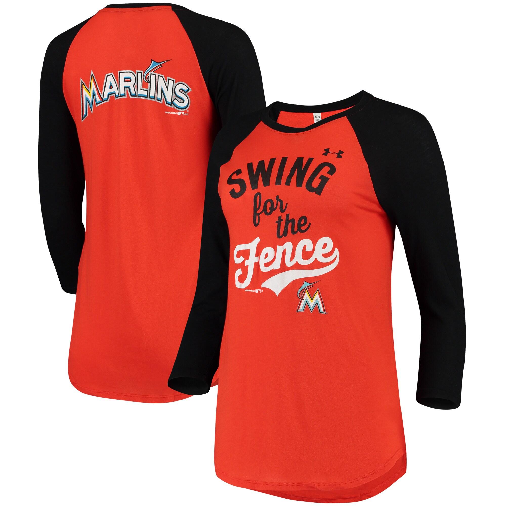 Miami Marlins Under Armour Women's Baseball 3/4-Sleeve Performance T-Shirt - Orange/Black