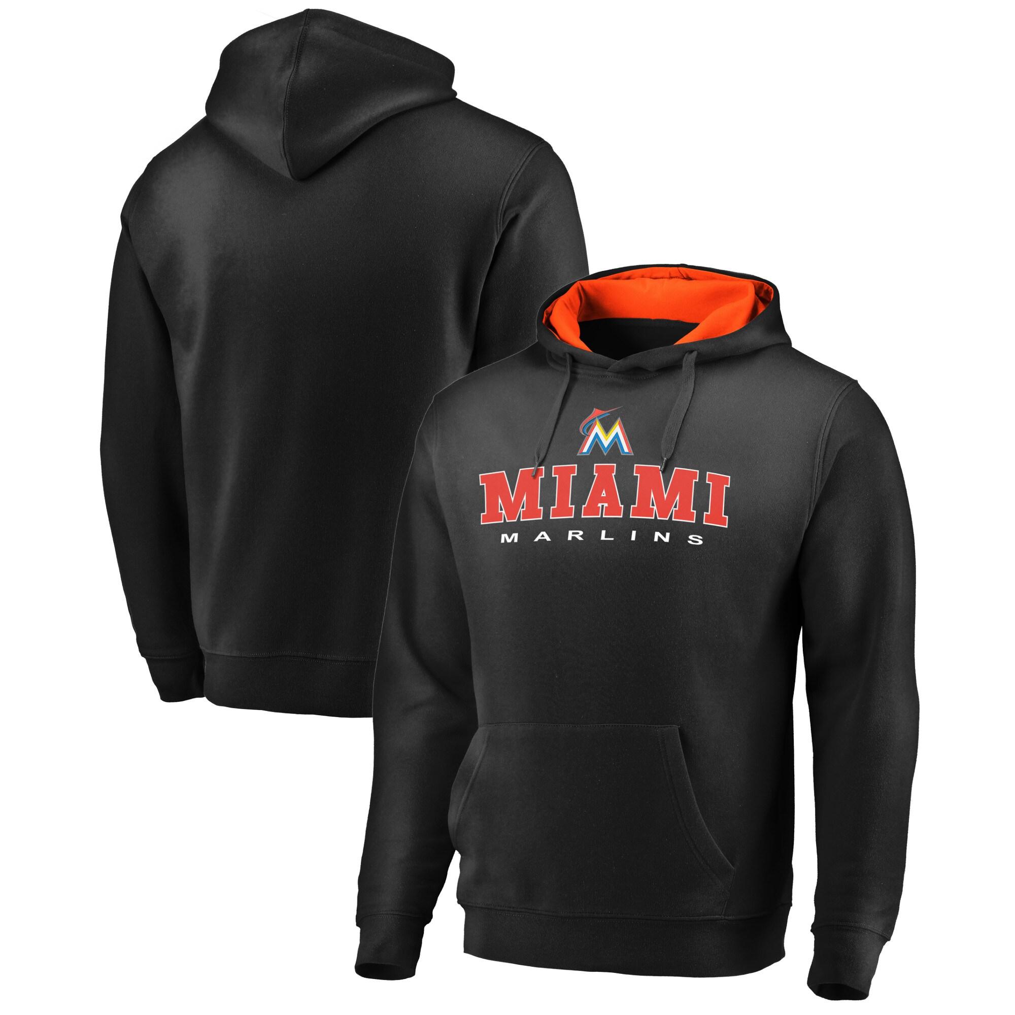 Miami Marlins Fanatics Branded Big & Tall Block Lineup Zone Fleece Pullover Hoodie - Black