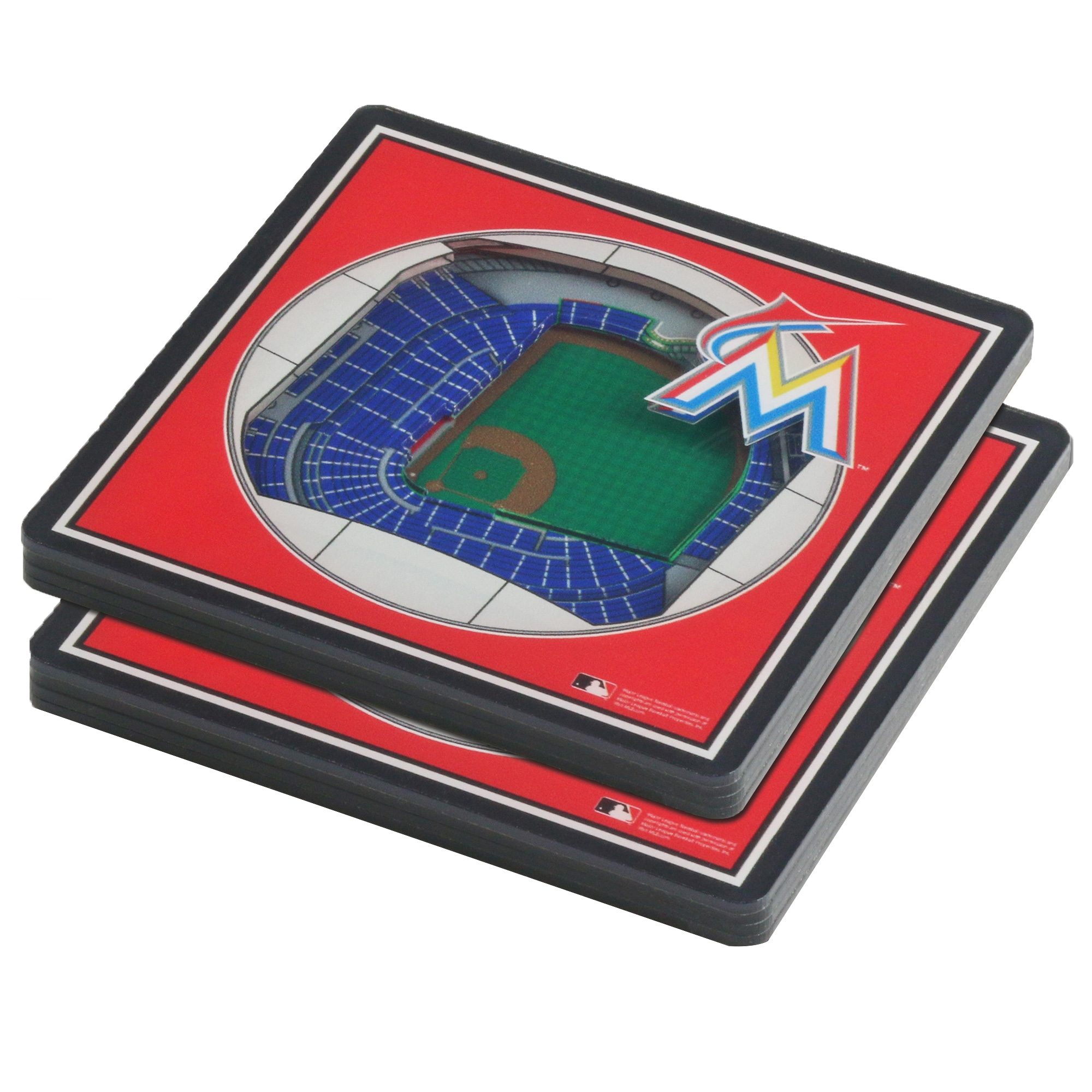 Miami Marlins 3D StadiumViews Coasters - Blue