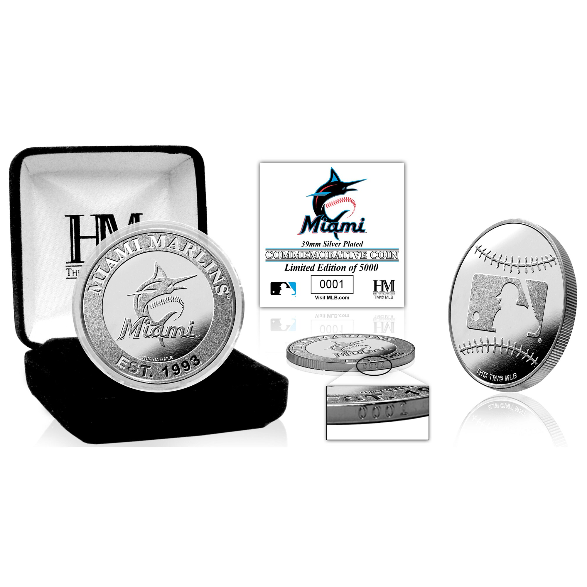 Miami Marlins Highland Mint Silver Mint Coin