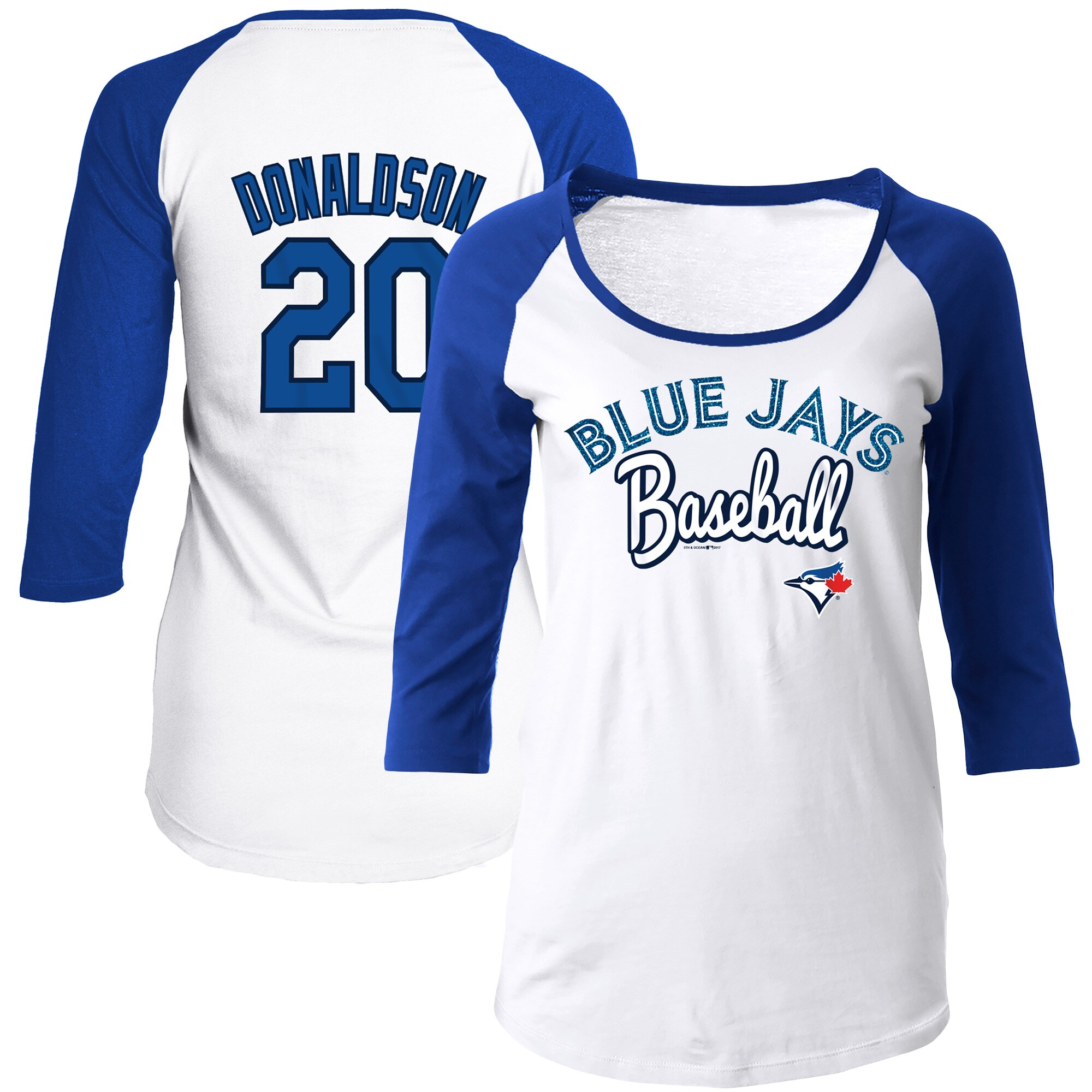 Josh Donaldson Toronto Blue Jays 5th & Ocean by New Era Women's Glitter 3/4-Sleeve Raglan T-Shirt - White/Royal