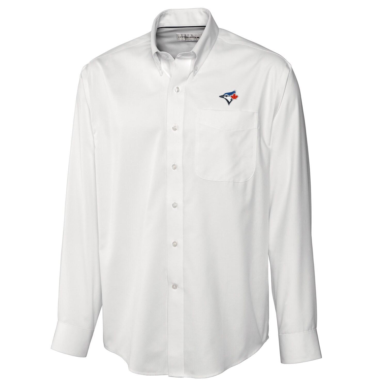Toronto Blue Jays Cutter & Buck Big & Tall Epic Easy Care Fine Twill Long Sleeve Shirt - White