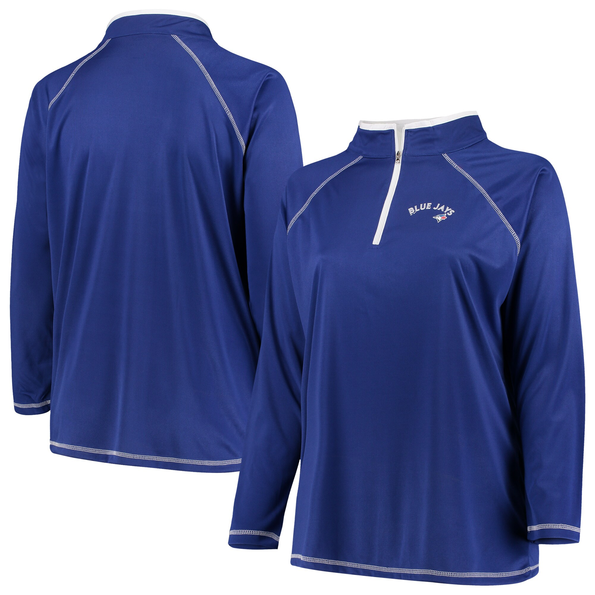 Toronto Blue Jays Majestic Women's Plus Size Quarter-Zip Pullover Jacket - Royal