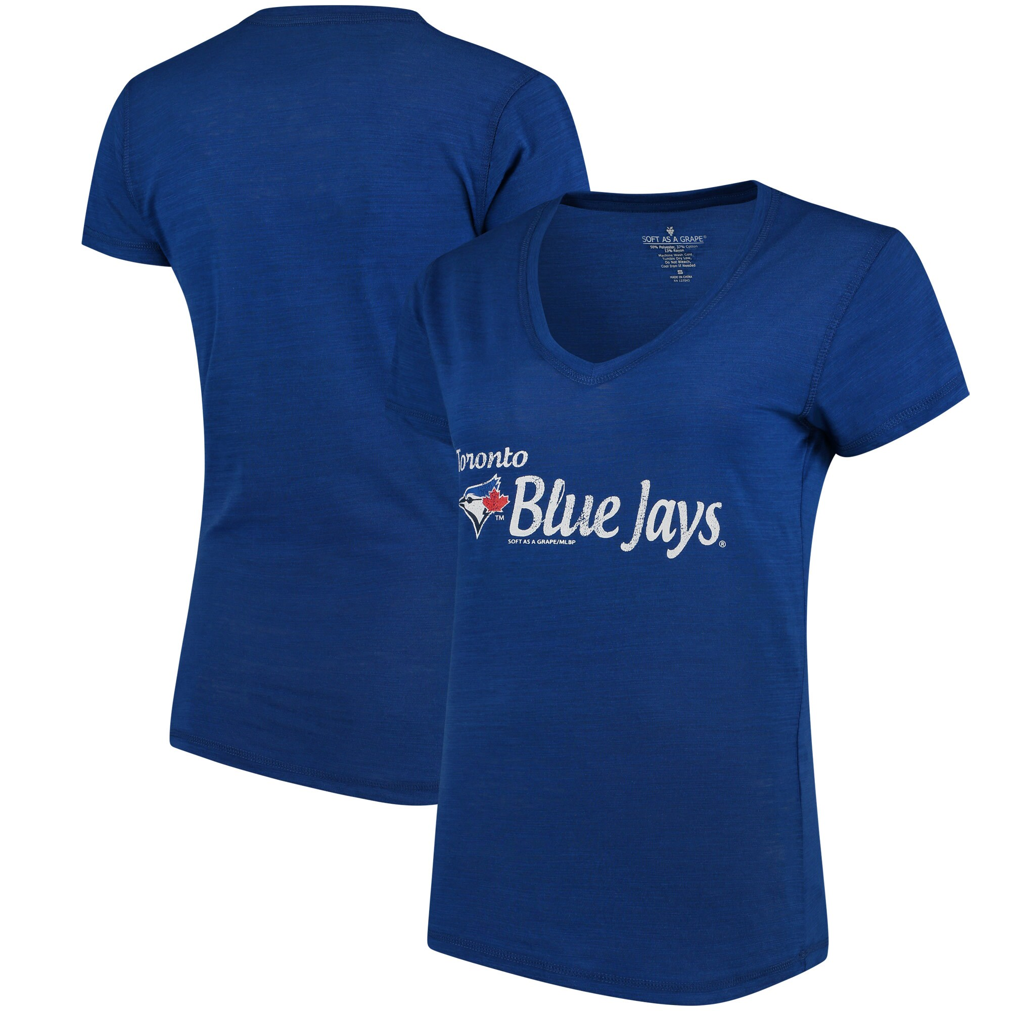 Toronto Blue Jays Soft As A Grape Women's Double Steal Tri-Blend V-Neck T-Shirt - Royal