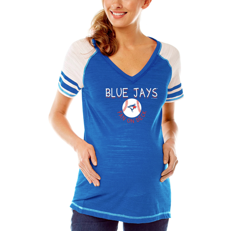 Toronto Blue Jays Soft As A Grape Women's Maternity Leadoff Hitter Tri-Blend V-Neck Raglan Sleeve T-Shirt - Royal