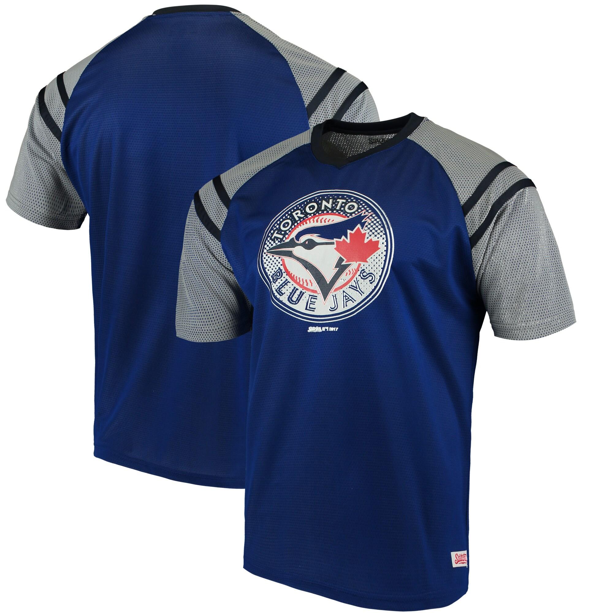 Toronto Blue Jays Stitches V-Neck Mesh Jersey T-Shirt - Royal/Navy