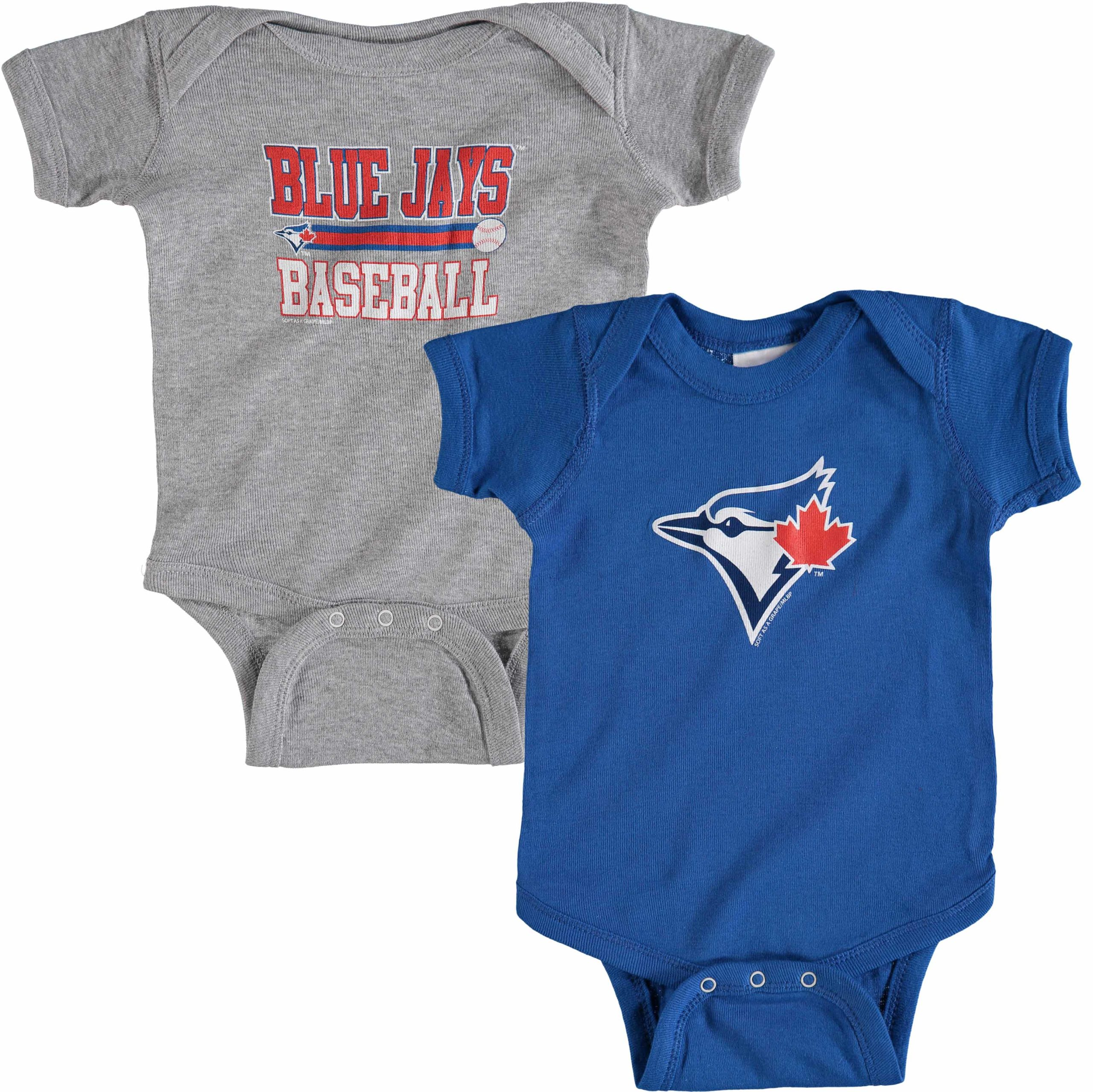 Toronto Blue Jays Soft as a Grape Newborn & Infant 2-Piece Body Suit - Royal/Gray
