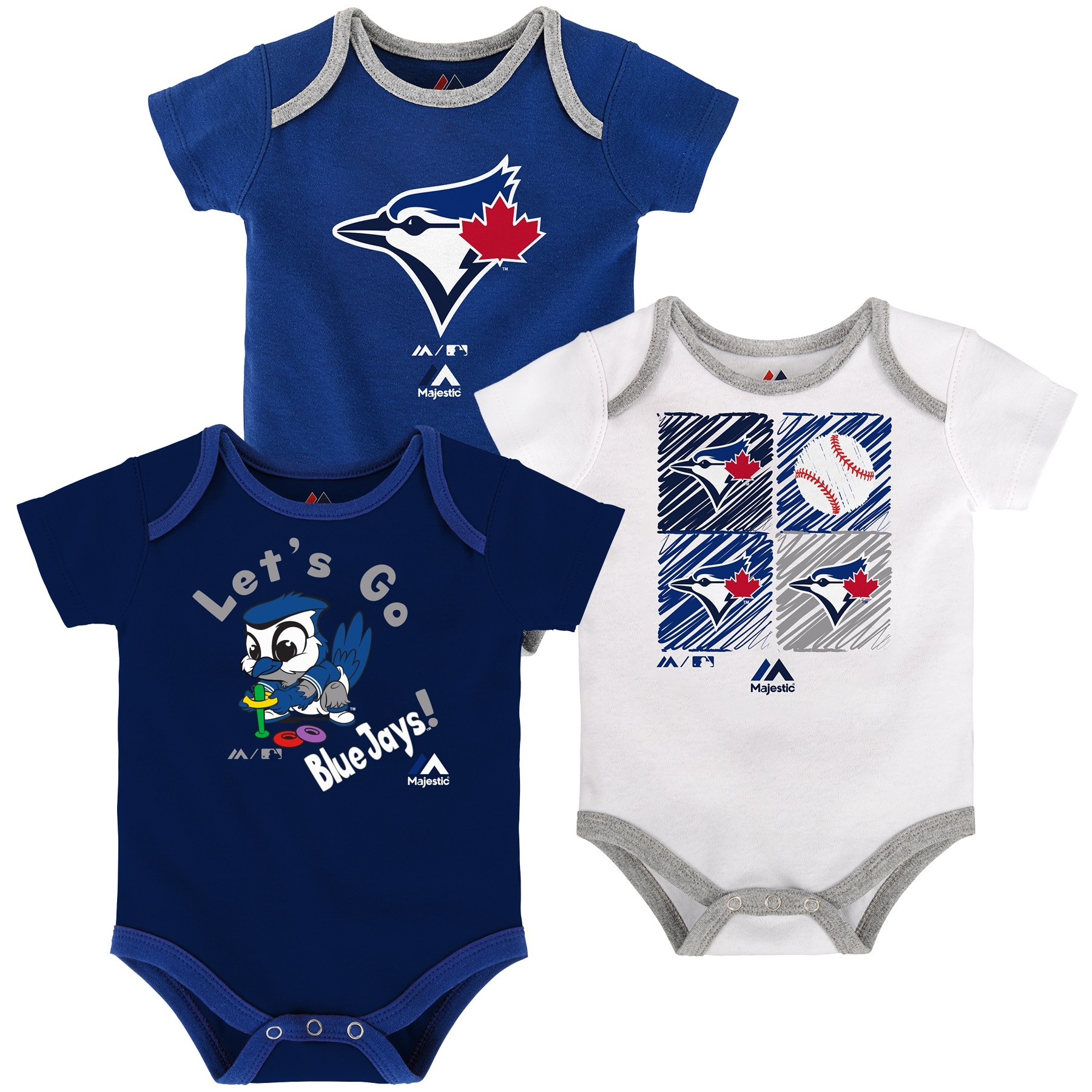 Toronto Blue Jays Majestic Newborn & Infant Go Team 3-Pack Bodysuit Set - Royal/Navy/White
