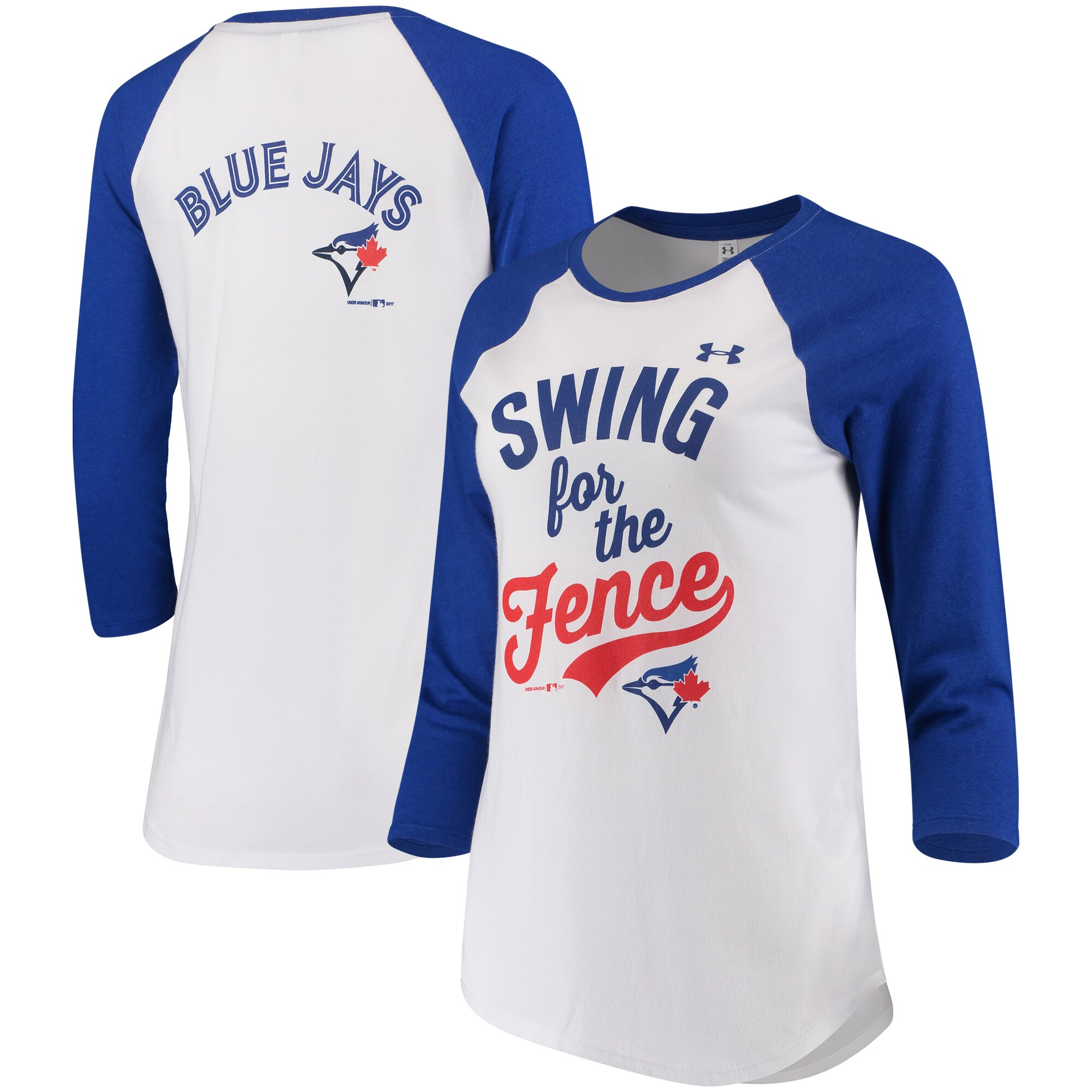 Toronto Blue Jays Under Armour Women's Baseball 3/4-Sleeve T-Shirt - White