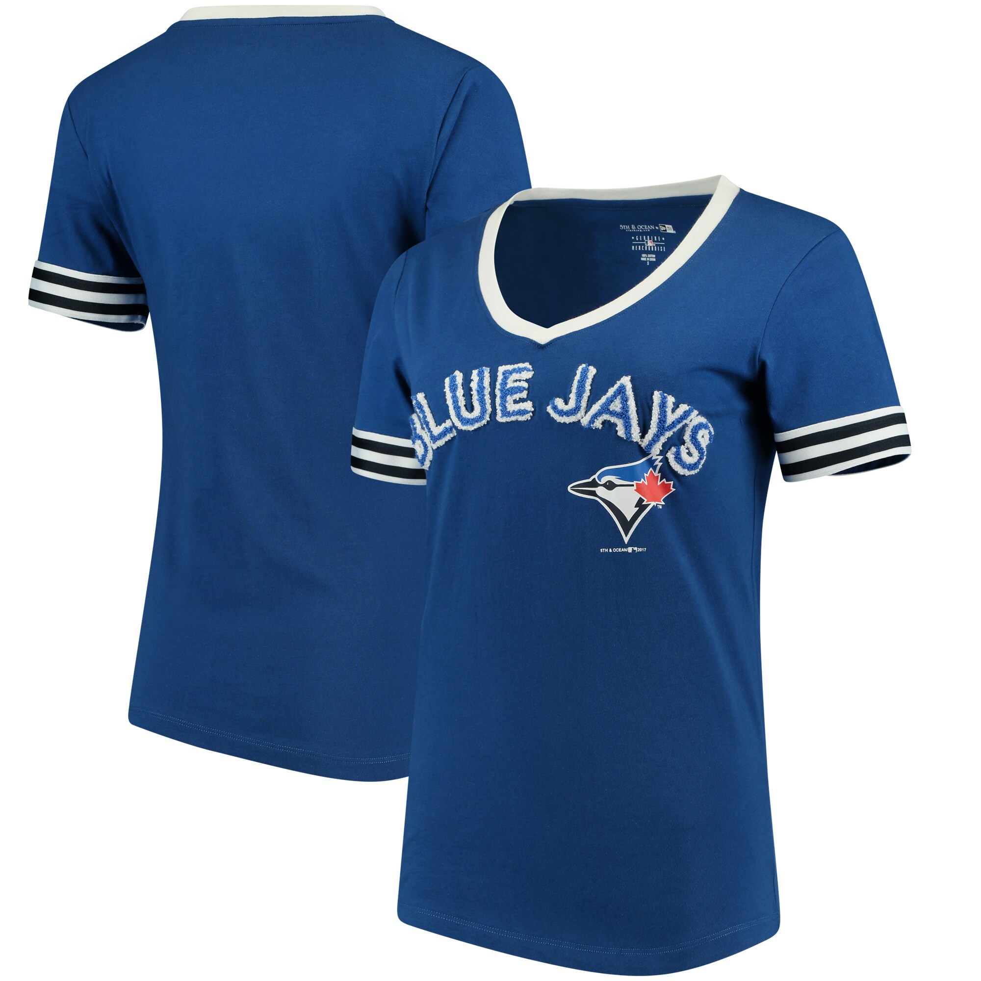 Toronto Blue Jays 5th & Ocean by New Era Women's Baby Jersey V-Neck T-Shirt - Royal