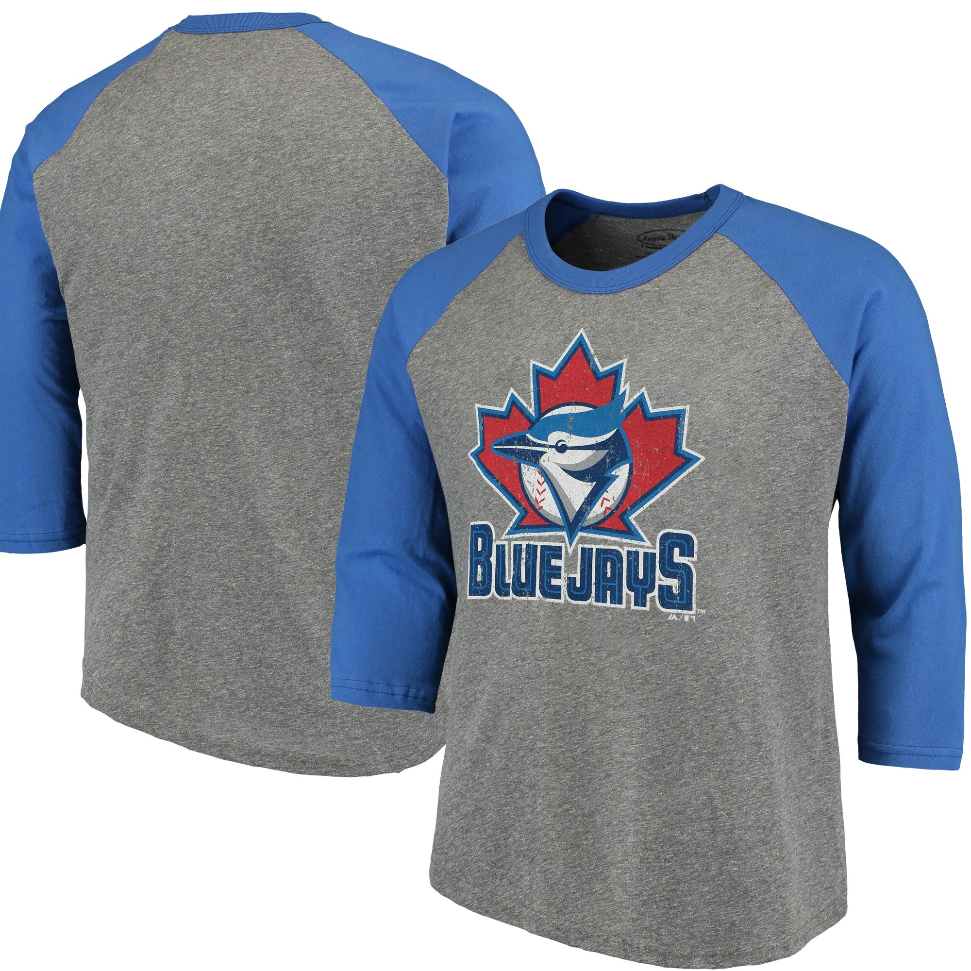 Toronto Blue Jays Majestic Threads Cooperstown Collection 3/4-Sleeve Raglan Tri-Blend T-Shirt - Heathered Gray/Royal