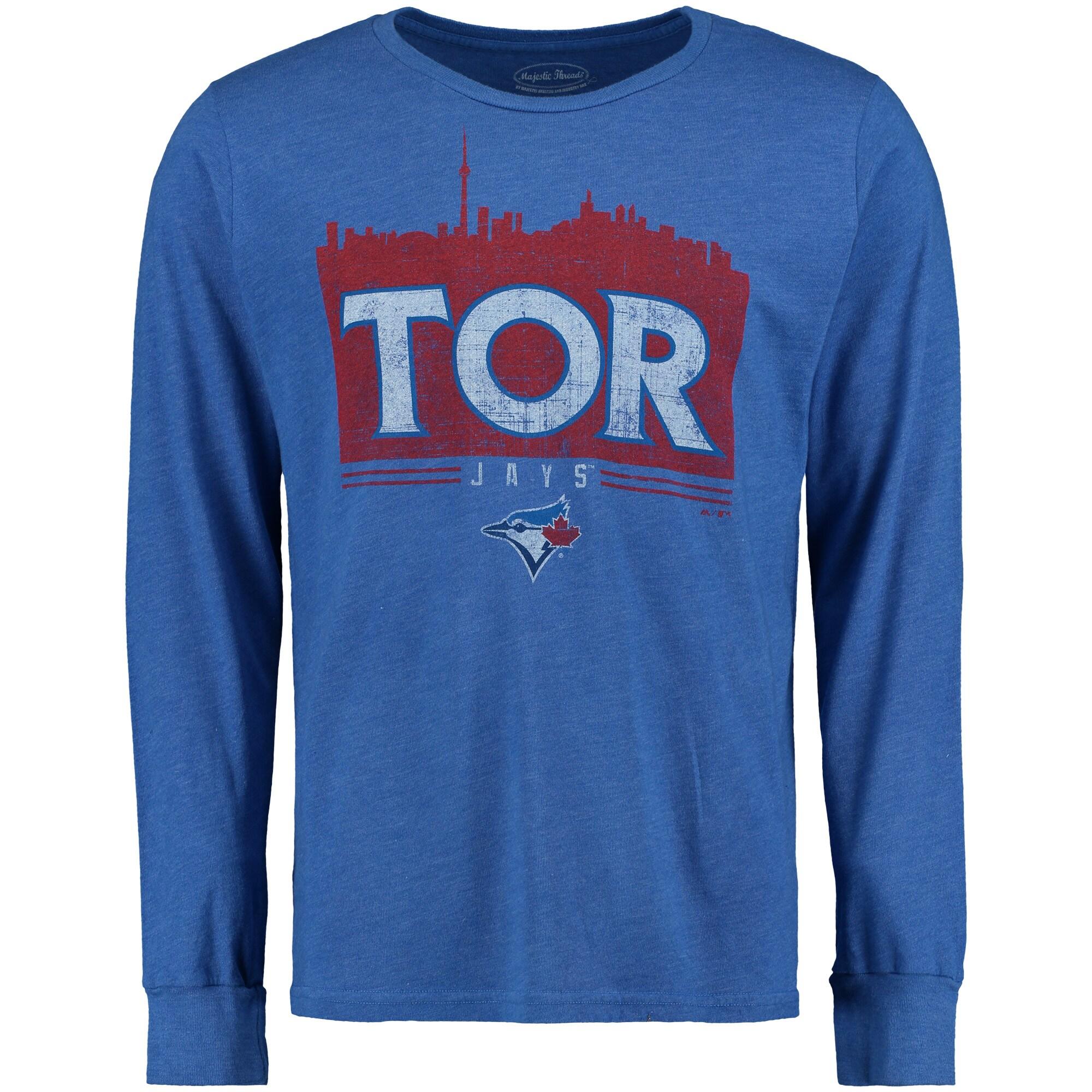 Toronto Blue Jays Majestic Threads Skyline Tri-Blend Long Sleeve T-Shirt - Royal -