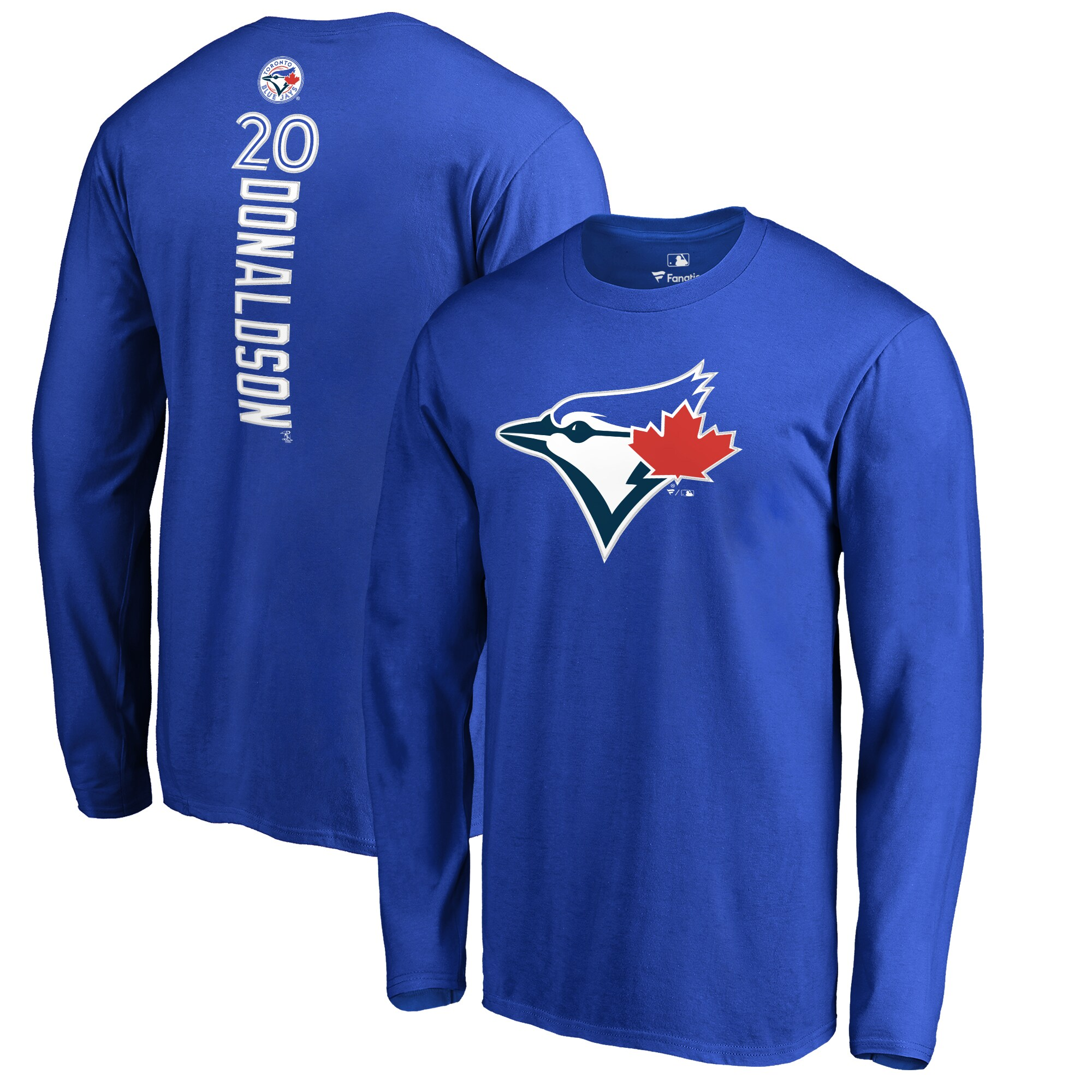 Josh Donaldson Toronto Blue Jays Backer Name & Number Long Sleeve T-Shirt - Royal