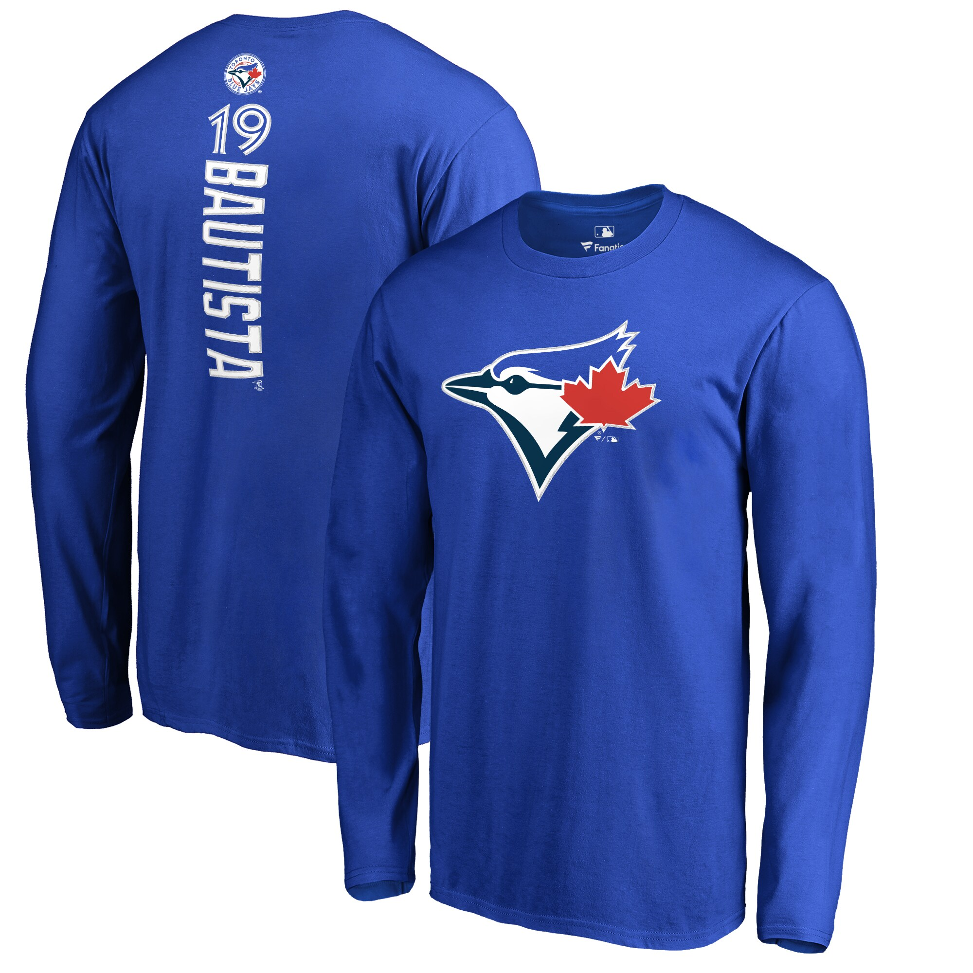 Jose Bautista Toronto Blue Jays Backer Name & Number Long Sleeve T-Shirt - Royal