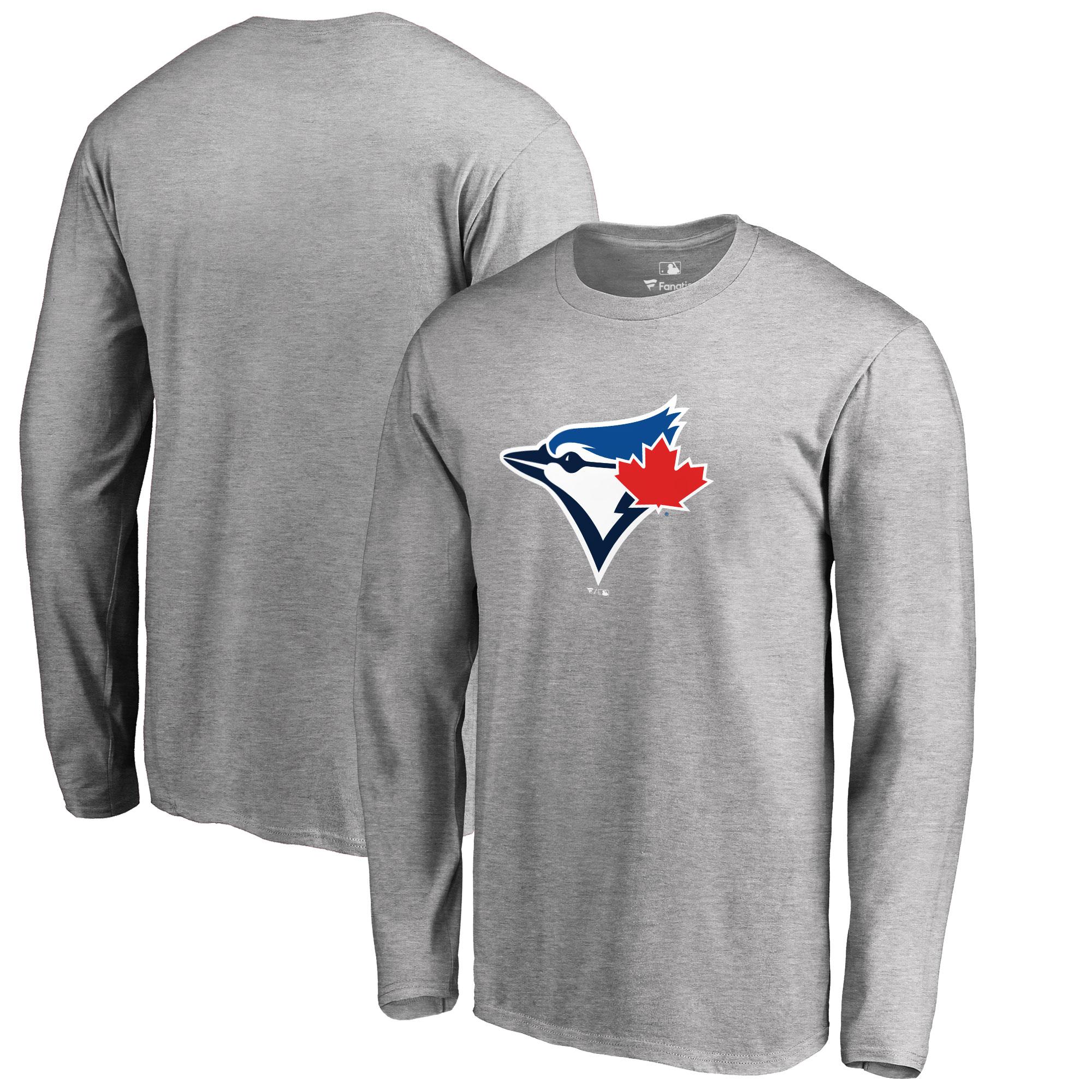 Toronto Blue Jays Big & Tall Primary Team Logo Long Sleeve T-Shirt - Ash