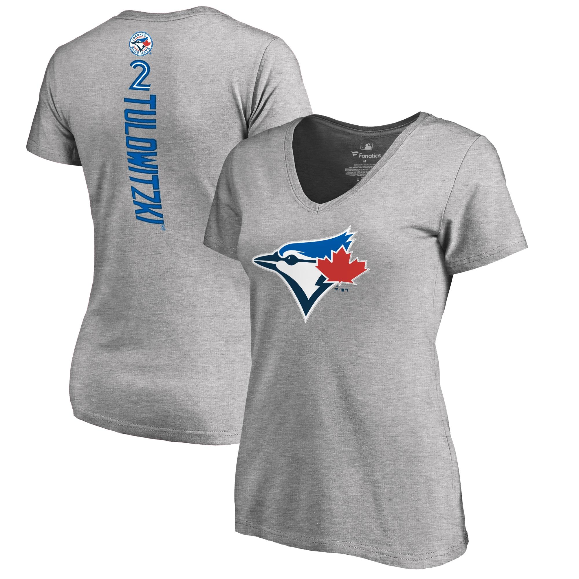 Troy Tulowitzki Toronto Blue Jays Women's Backer V-Neck T-Shirt - Ash