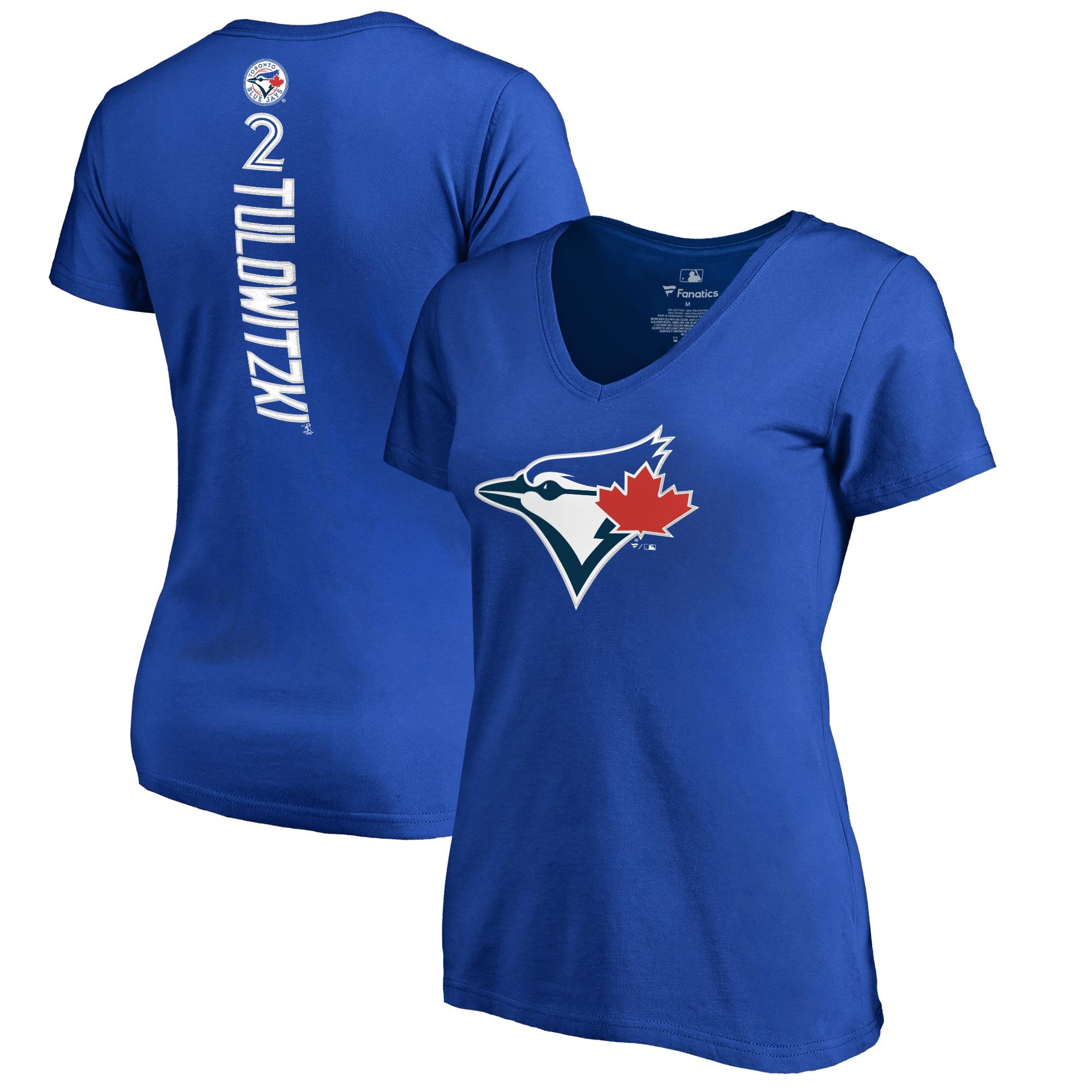 Troy Tulowitzki Toronto Blue Jays Women's Backer V-Neck T-Shirt - Royal
