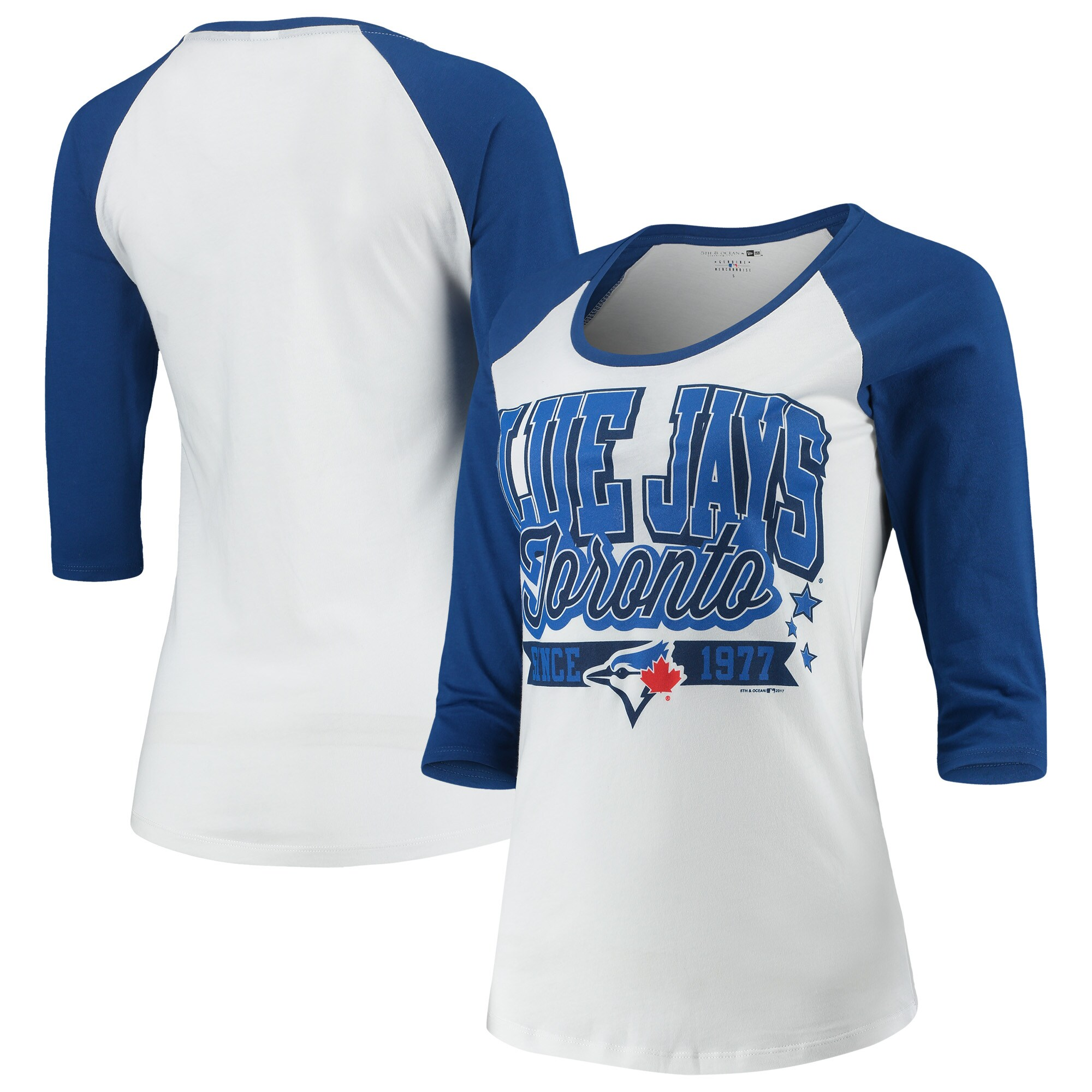 Toronto Blue Jays 5th & Ocean by New Era Women's Team Banner 3/4-Sleeve Raglan T-Shirt - White/Royal