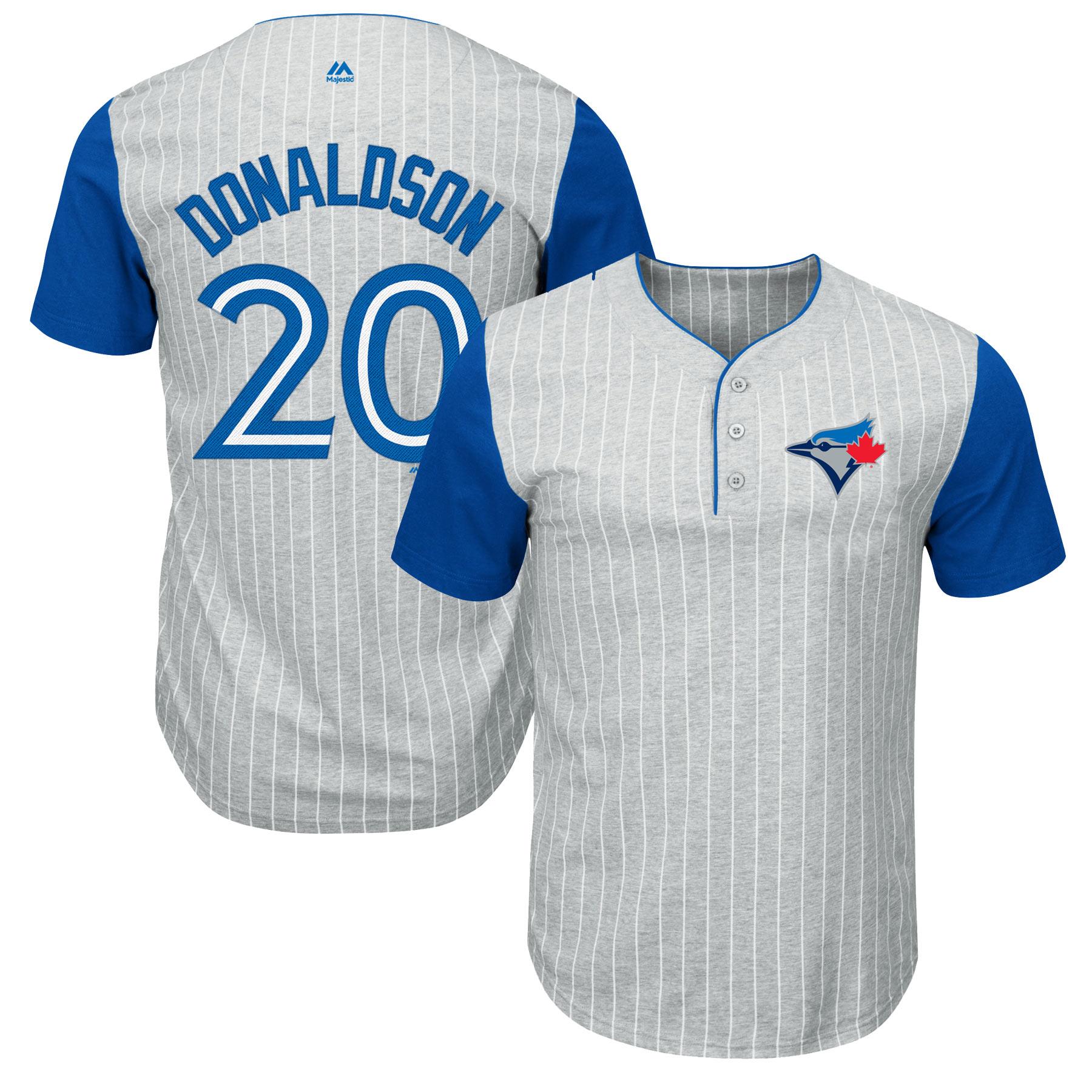 Josh Donaldson Toronto Blue Jays Majestic Big & Tall Pinstripe Player T-Shirt - Gray/Royal