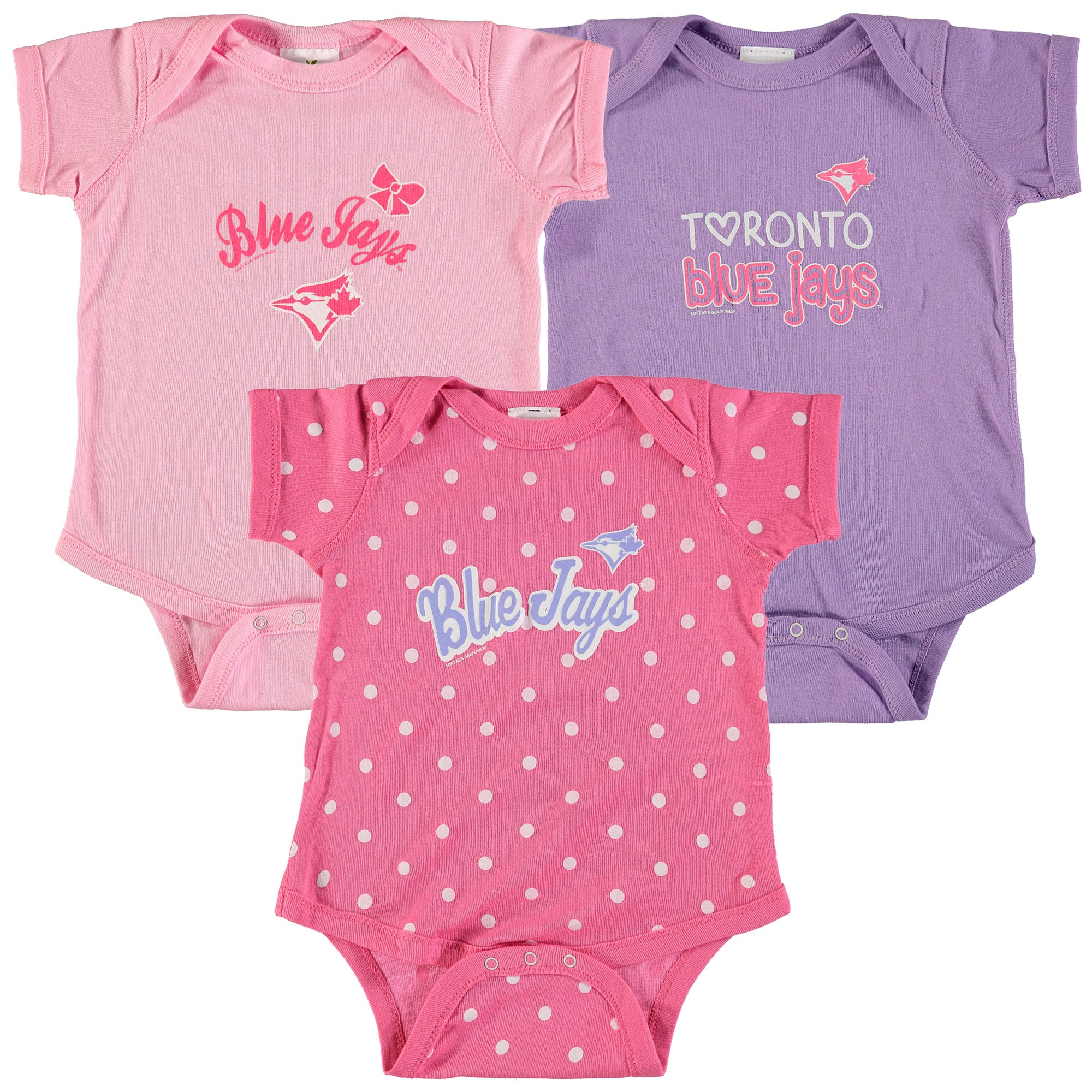 Toronto Blue Jays Soft as a Grape Girls Infant 3-Pack Rookie Bodysuit Set - Pink/Purple