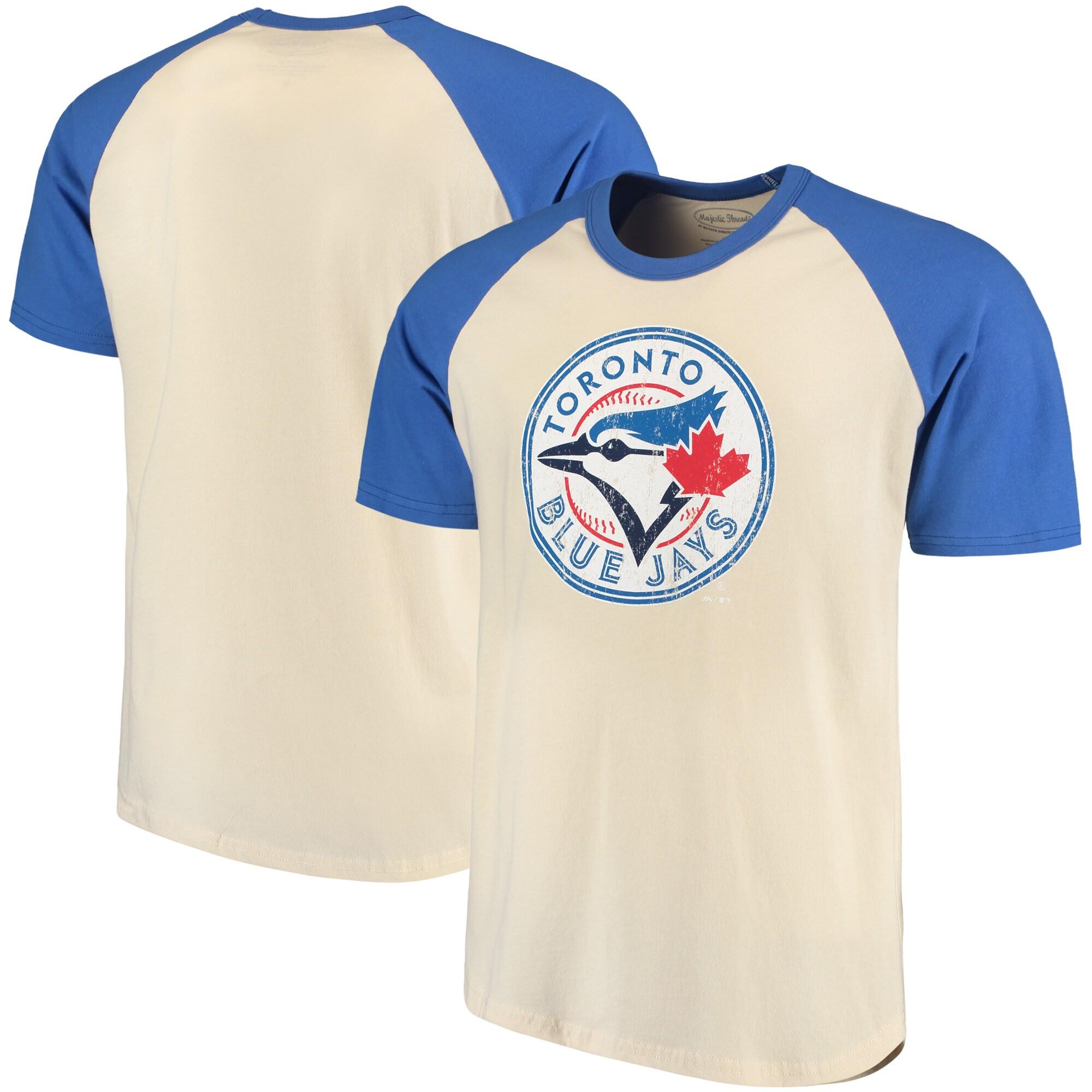 Toronto Blue Jays Majestic Threads Softhand Raglan T-Shirt - Cream/Royal