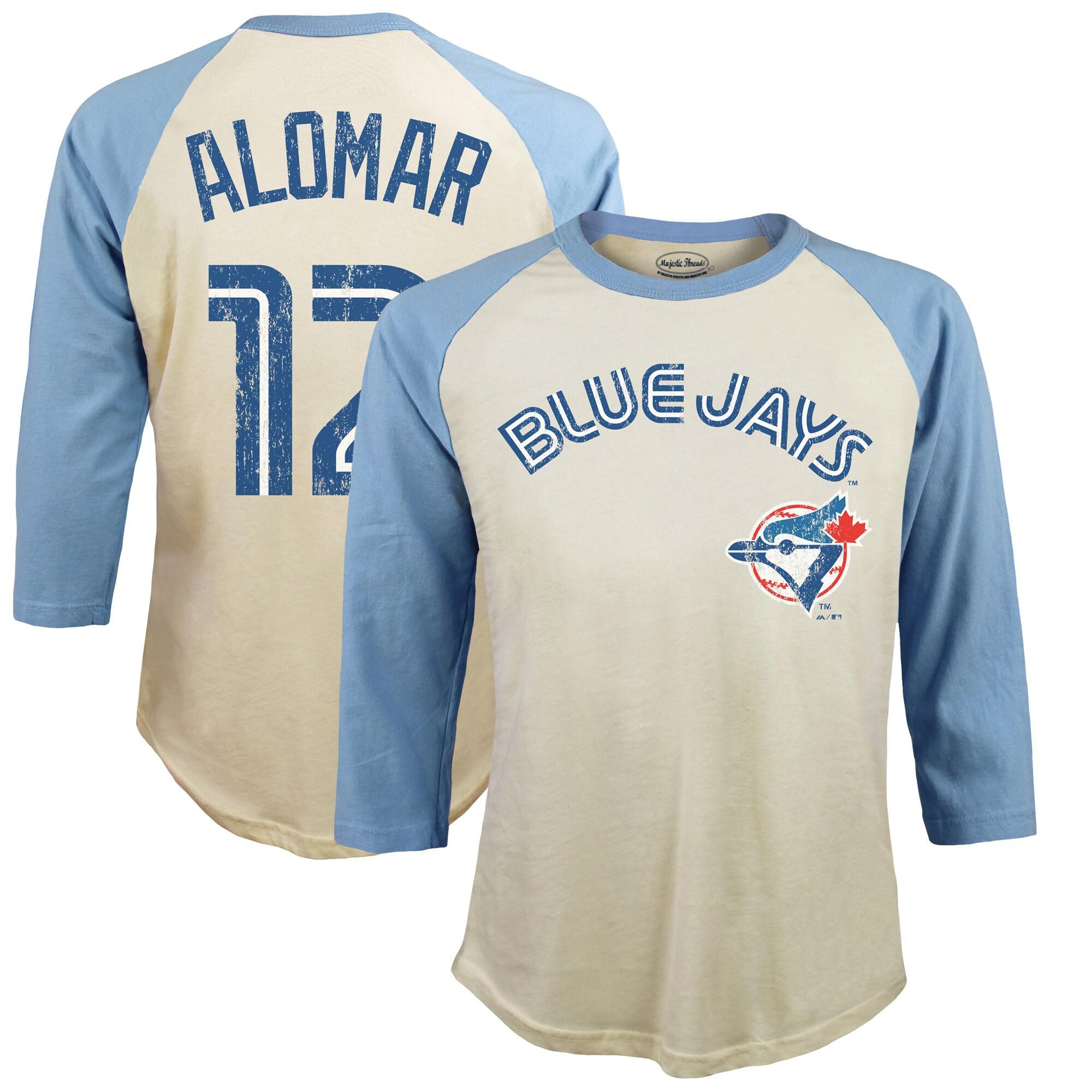 Roberto Alomar Toronto Blue Jays Majestic Threads Softhand Cotton Cooperstown 3/4-Sleeve Raglan T-Shirt - Cream