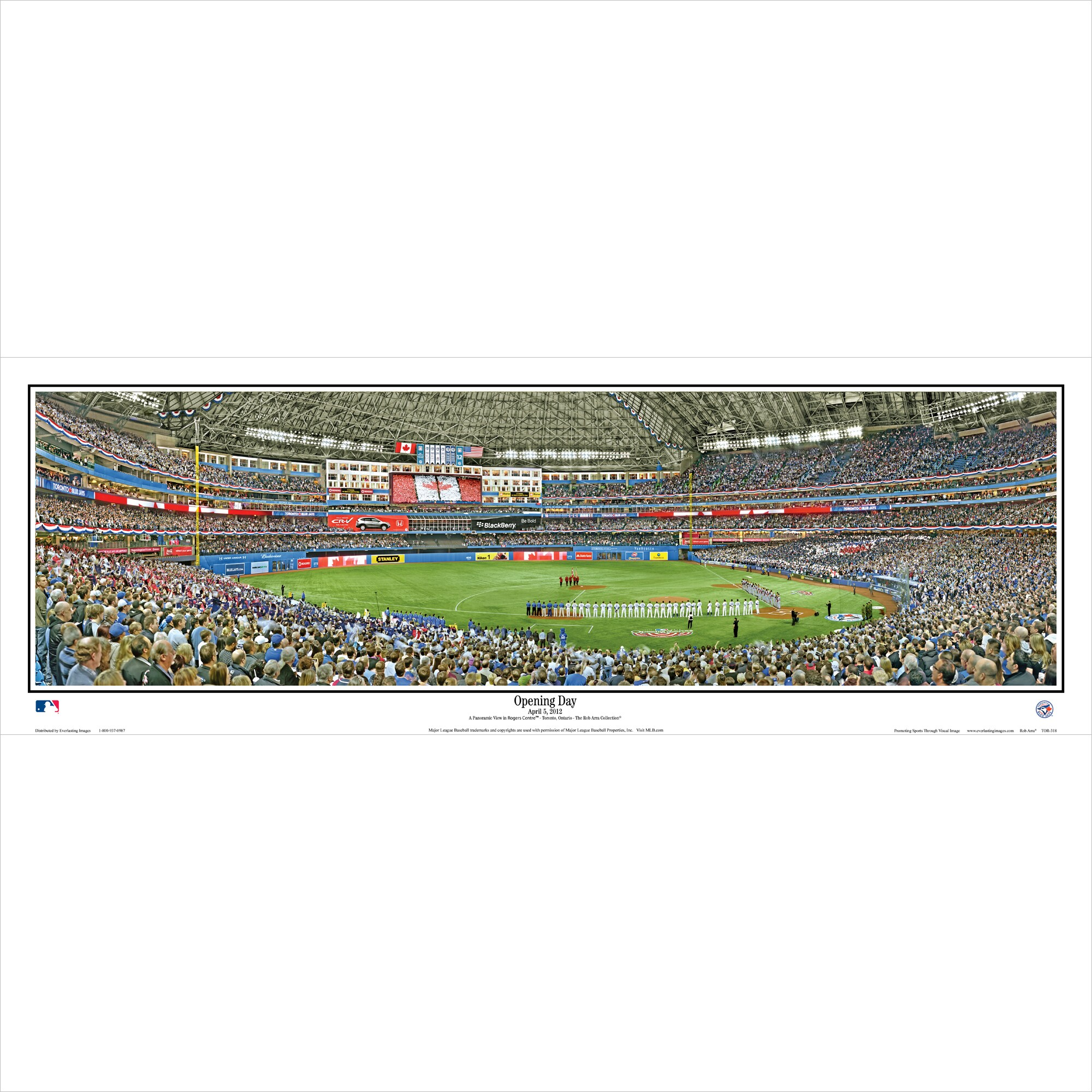 "Toronto Blue Jays 39"" x 13.5"" Opening Day Standard Black Framed Panoramic"