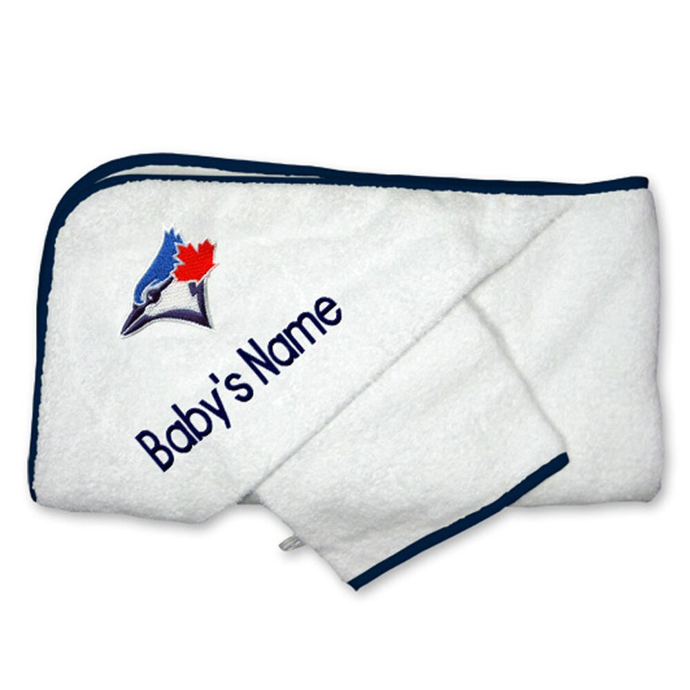 Toronto Blue Jays Infant Personalized Hooded Towel & Mitt Set - White
