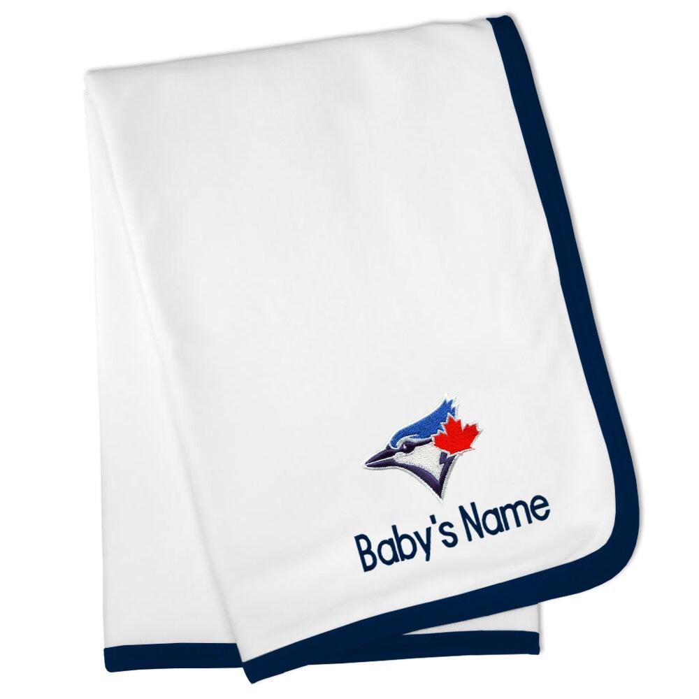 Toronto Blue Jays Personalized Baby Blanket - White