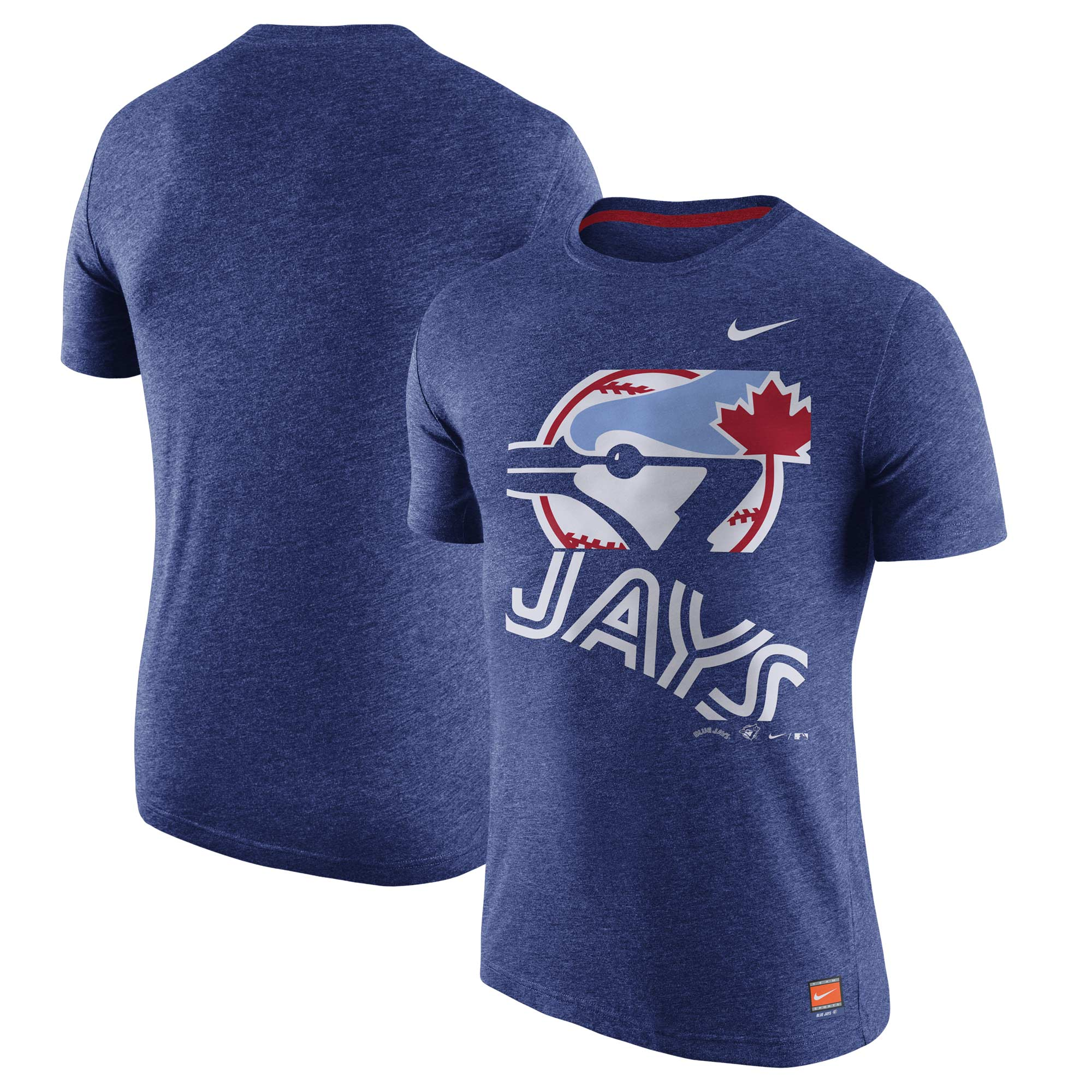 Toronto Blue Jays Nike Cooperstown Collection Logo Tri-Blend T-Shirt - Heathered Royal