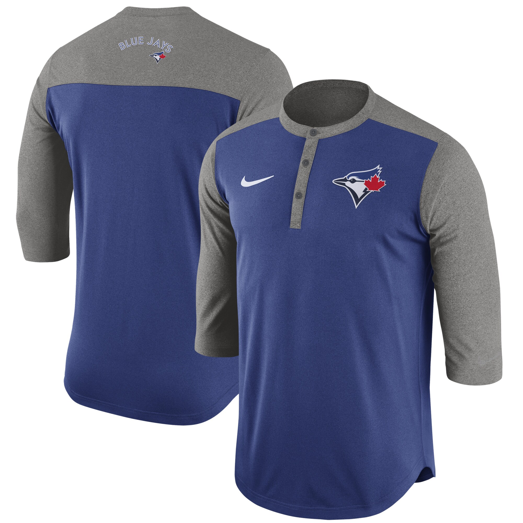 Toronto Blue Jays Nike Dry Henley 3/4-Sleeve T-Shirt - Royal
