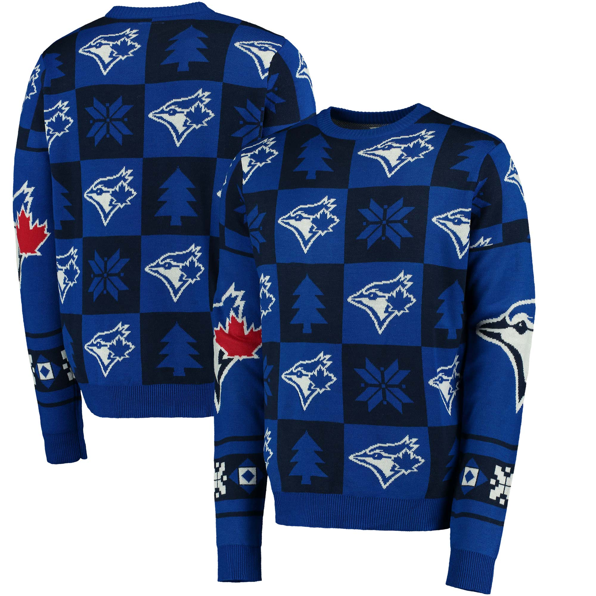 Toronto Blue Jays Patches Ugly Pullover Sweater - Royal