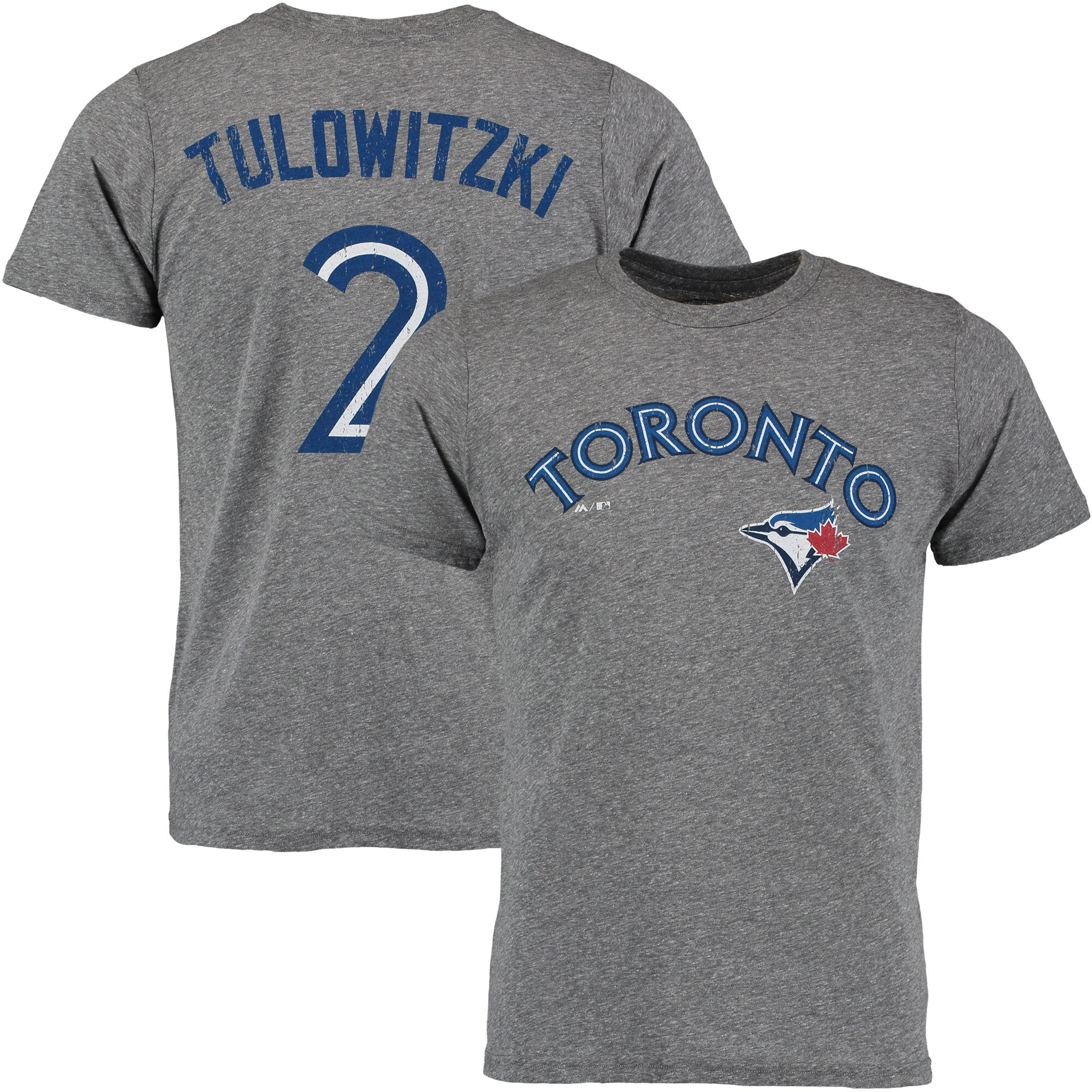 Troy Tulowitzki Toronto Blue Jays Majestic Threads Premium Tri-Blend Name & Number T-Shirt - Gray