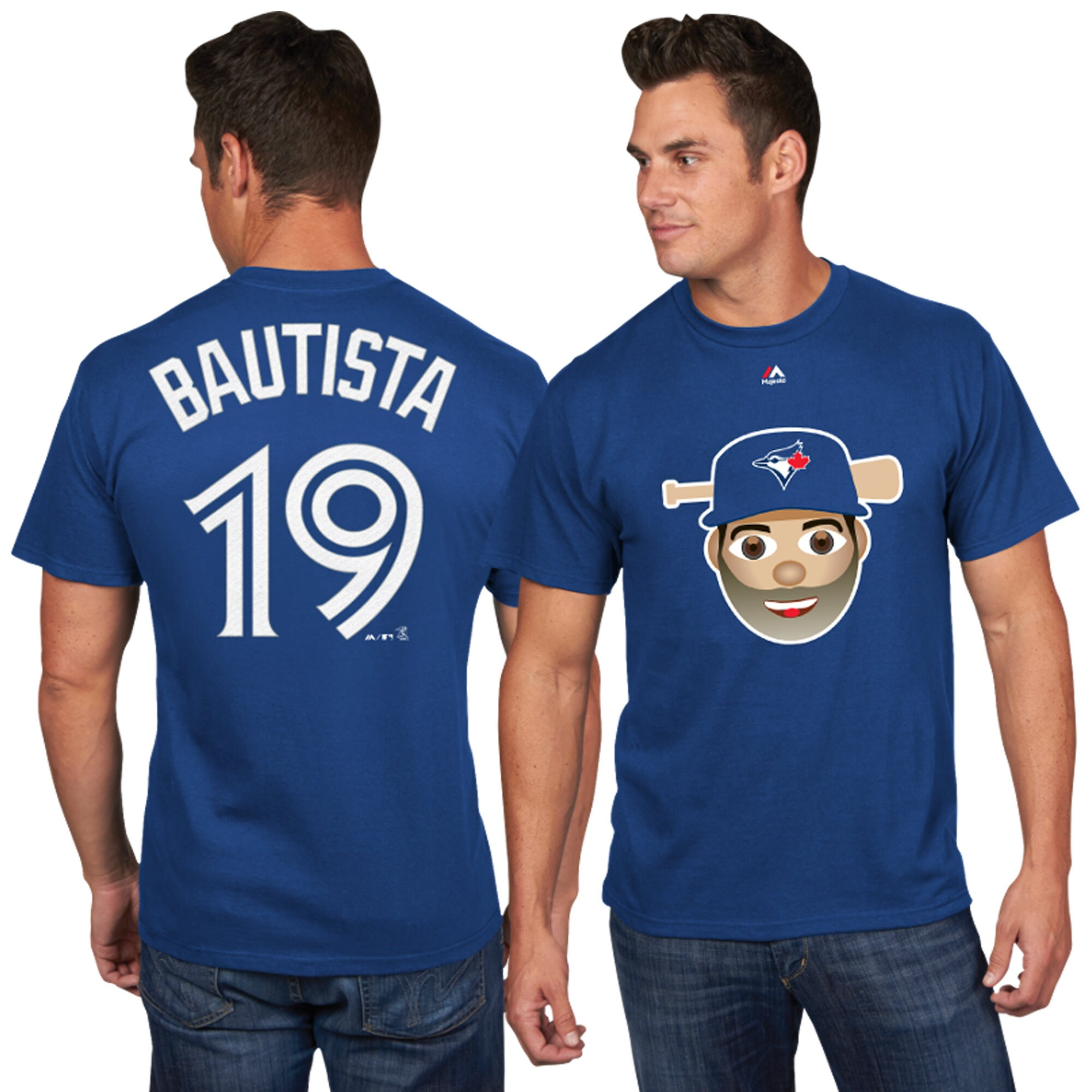 Jose Bautista Toronto Blue Jays Majestic Player Name & Number Emoji T-Shirt - Royal