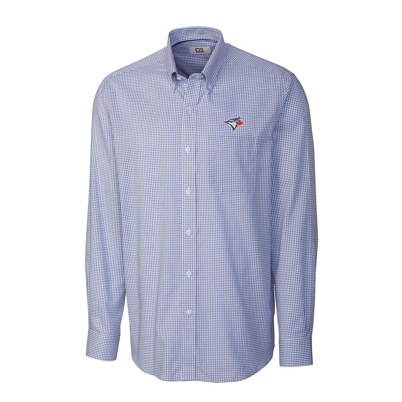 Toronto Blue Jays Cutter & Buck Tattersall Woven Long Sleeve Button-Down Shirt - Royal